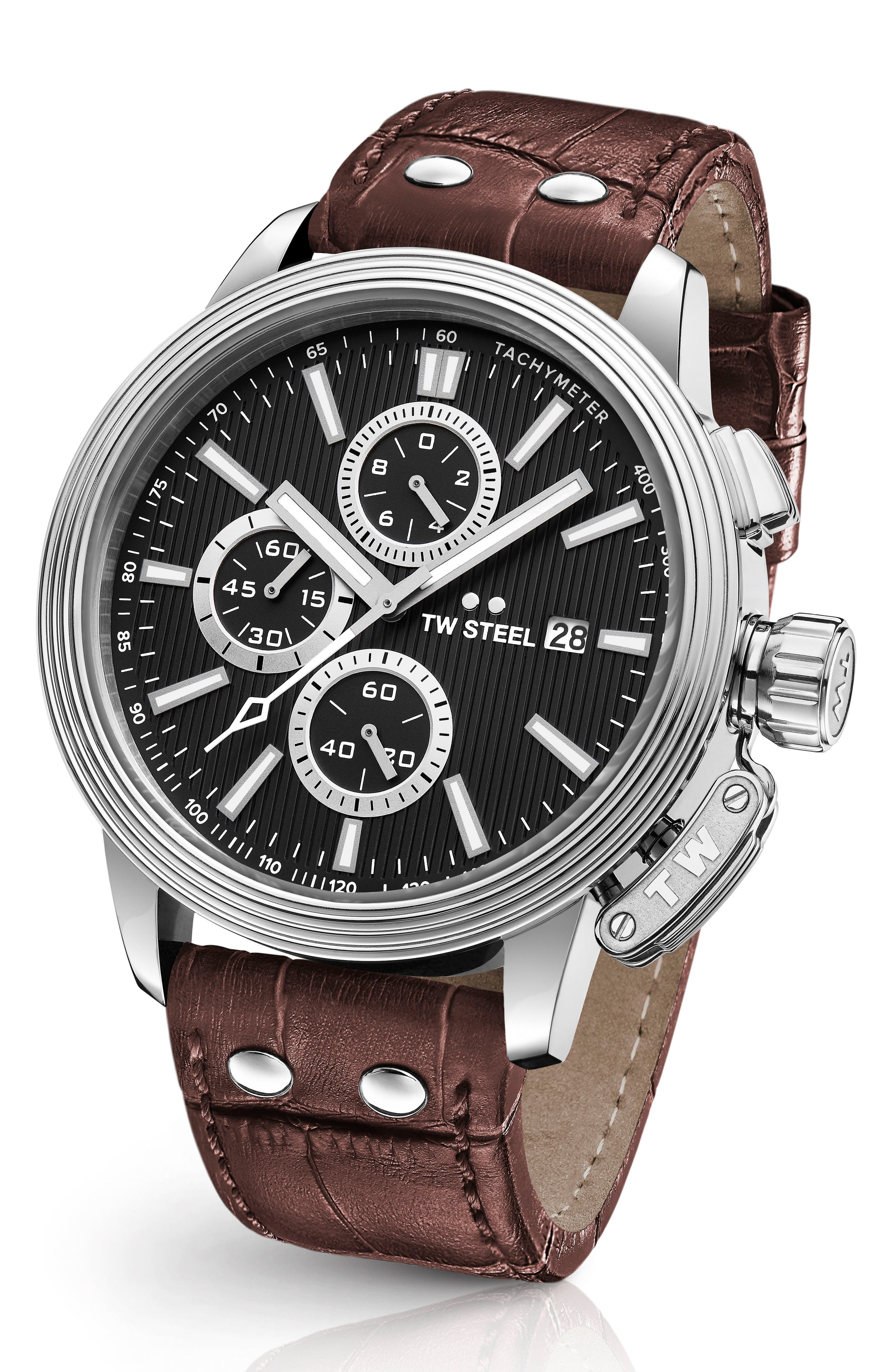 CEO Adesso Chronograph Leather Strap Watch, 48mm,                         Main,                         color, Brown/ Black/ Silver