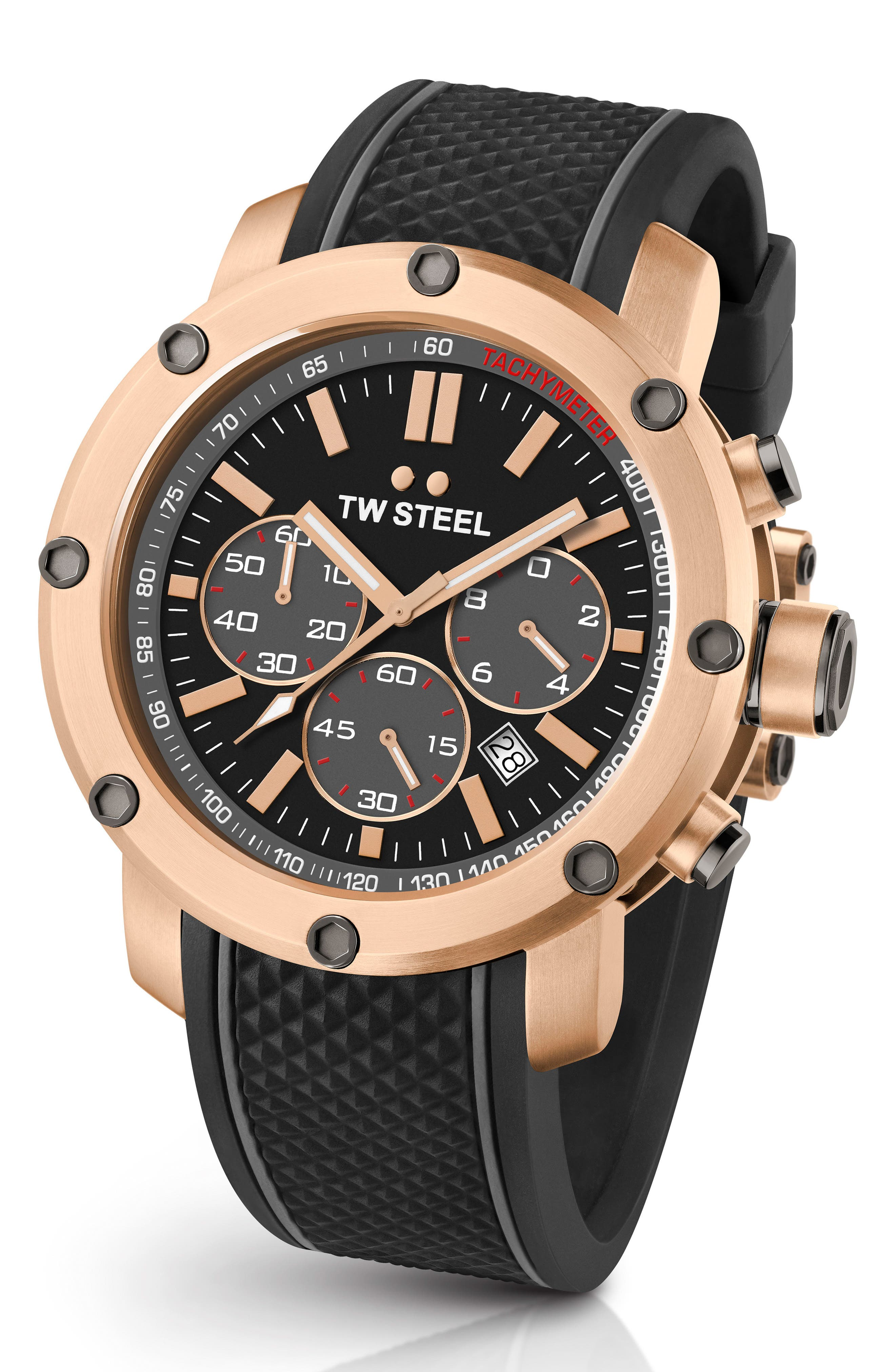 Grandeur Tech Silicone Strap Watch, 48mm,                         Main,                         color, Black/ Rose Gold