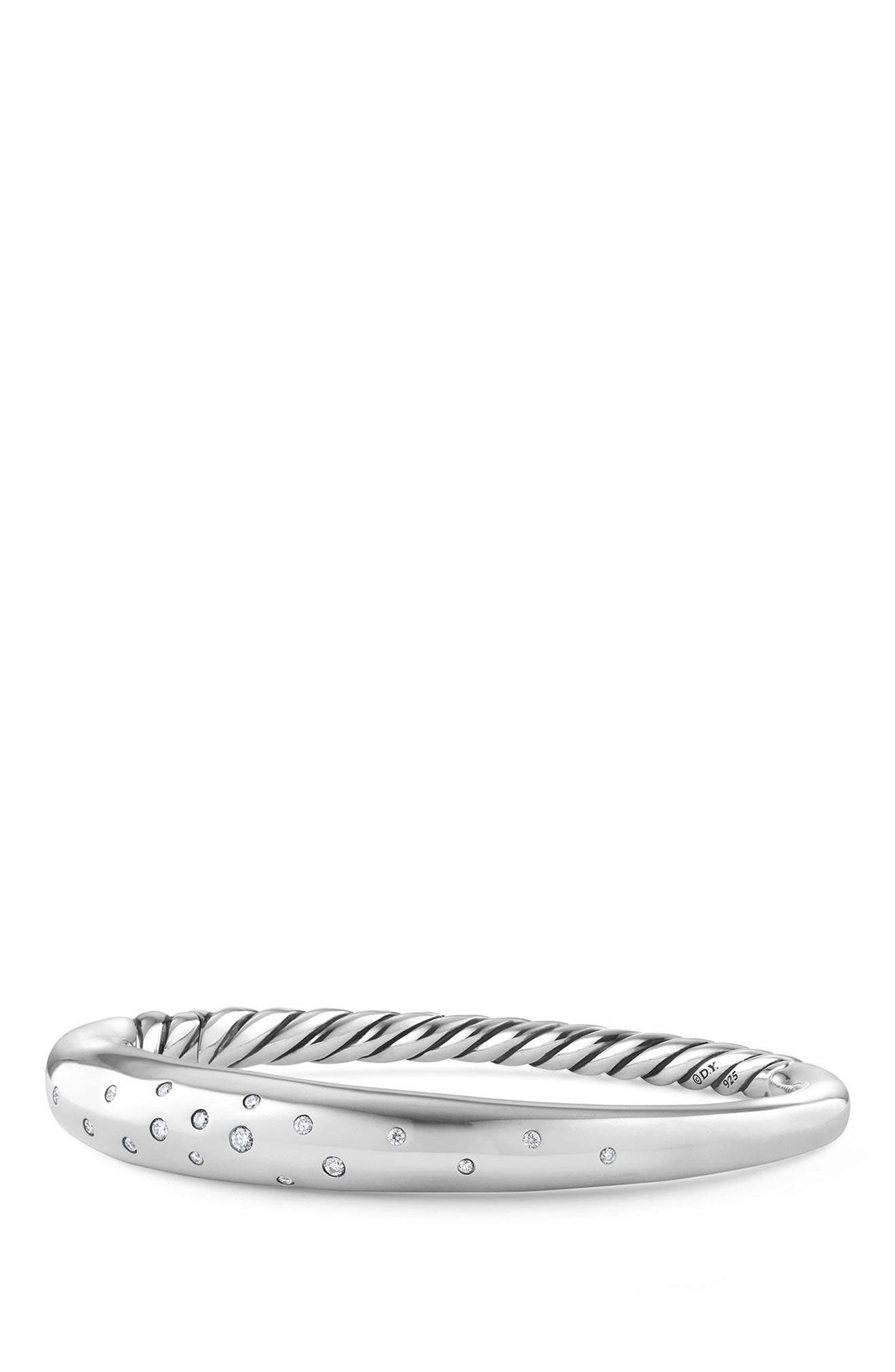 Pure Form Smooth Bracelet with Diamonds, 9.5mm,                         Main,                         color, Silver