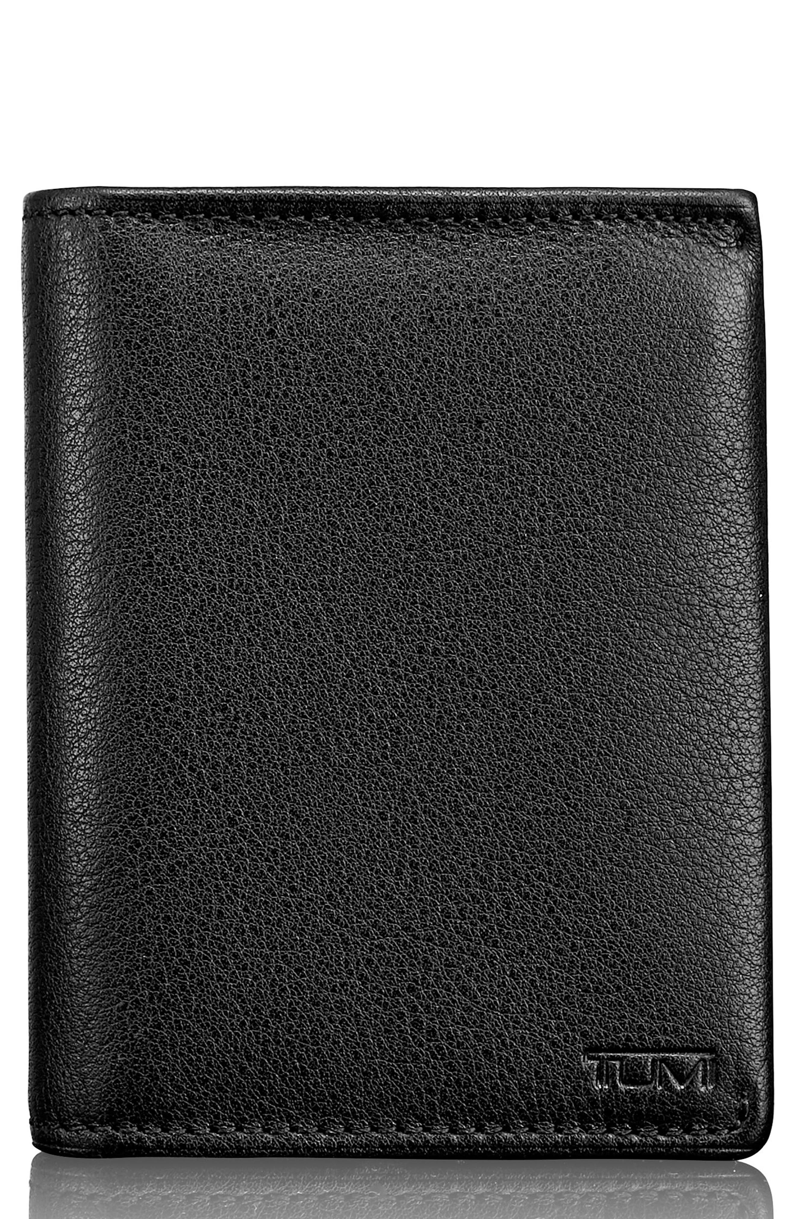 Leather L-Fold Wallet,                             Main thumbnail 1, color,                             Black Textured