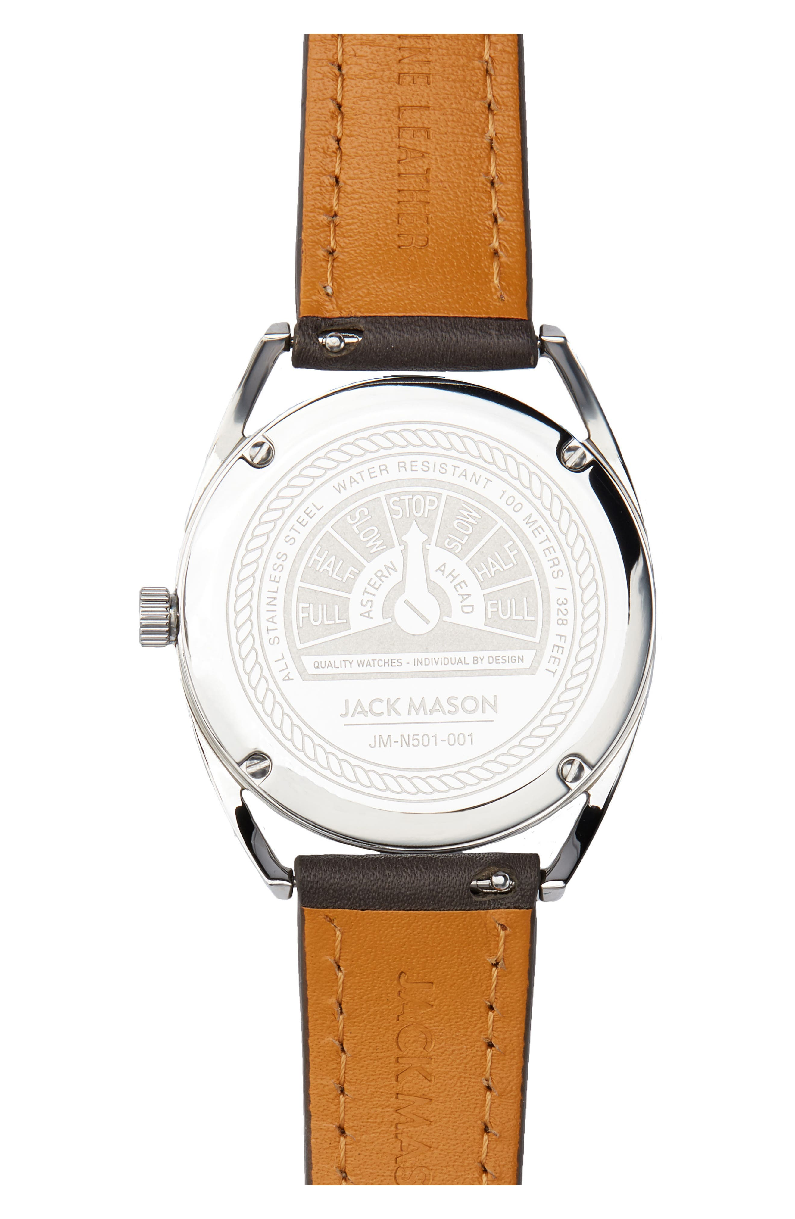 Deck Leather Strap Watch, 36mm,                             Alternate thumbnail 2, color,                             Grey/ White/ Silver