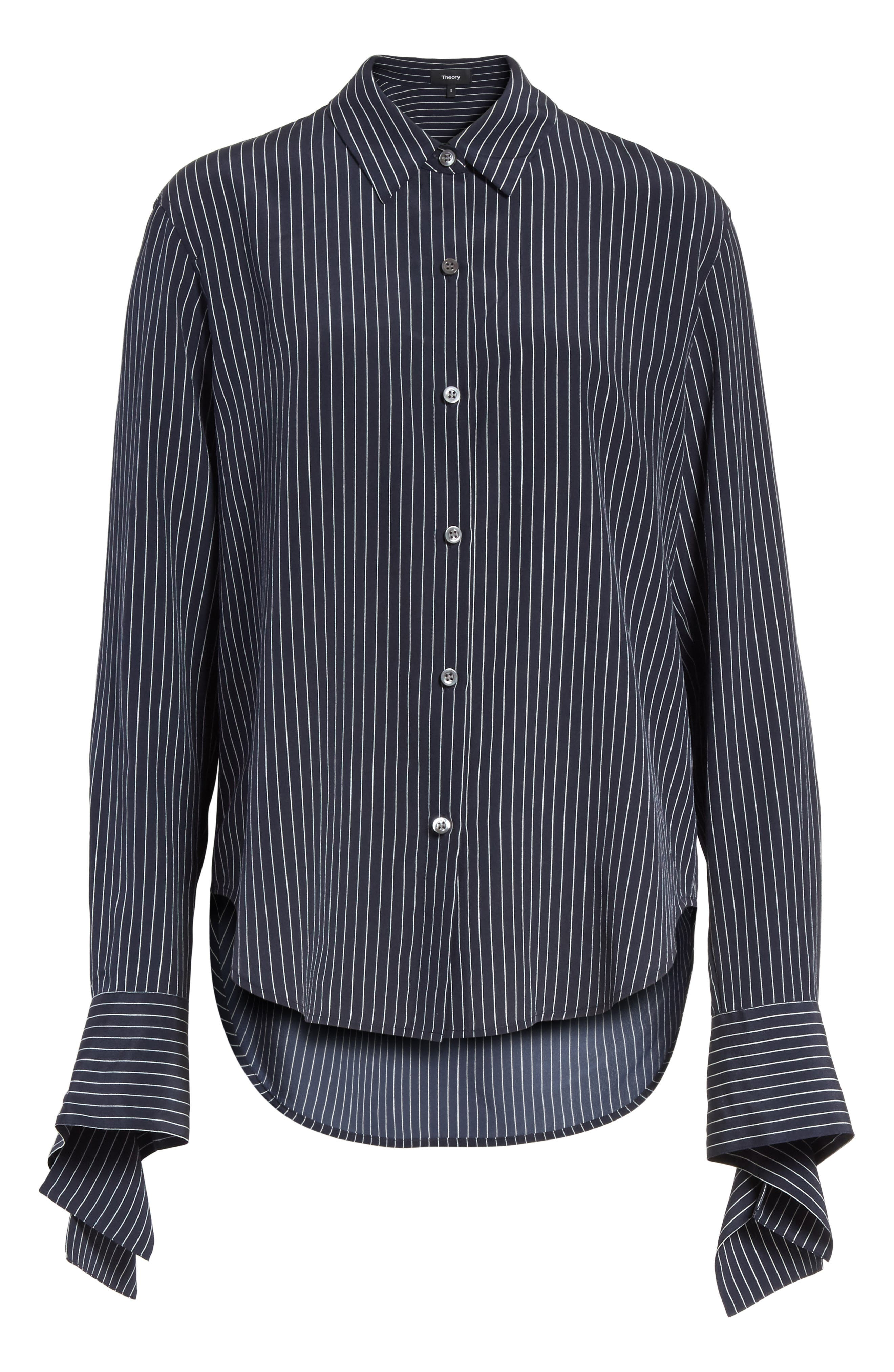 Tie Cuff Pinstripe Silk Blouse,                             Alternate thumbnail 6, color,                             Deep Navy/ Ivory