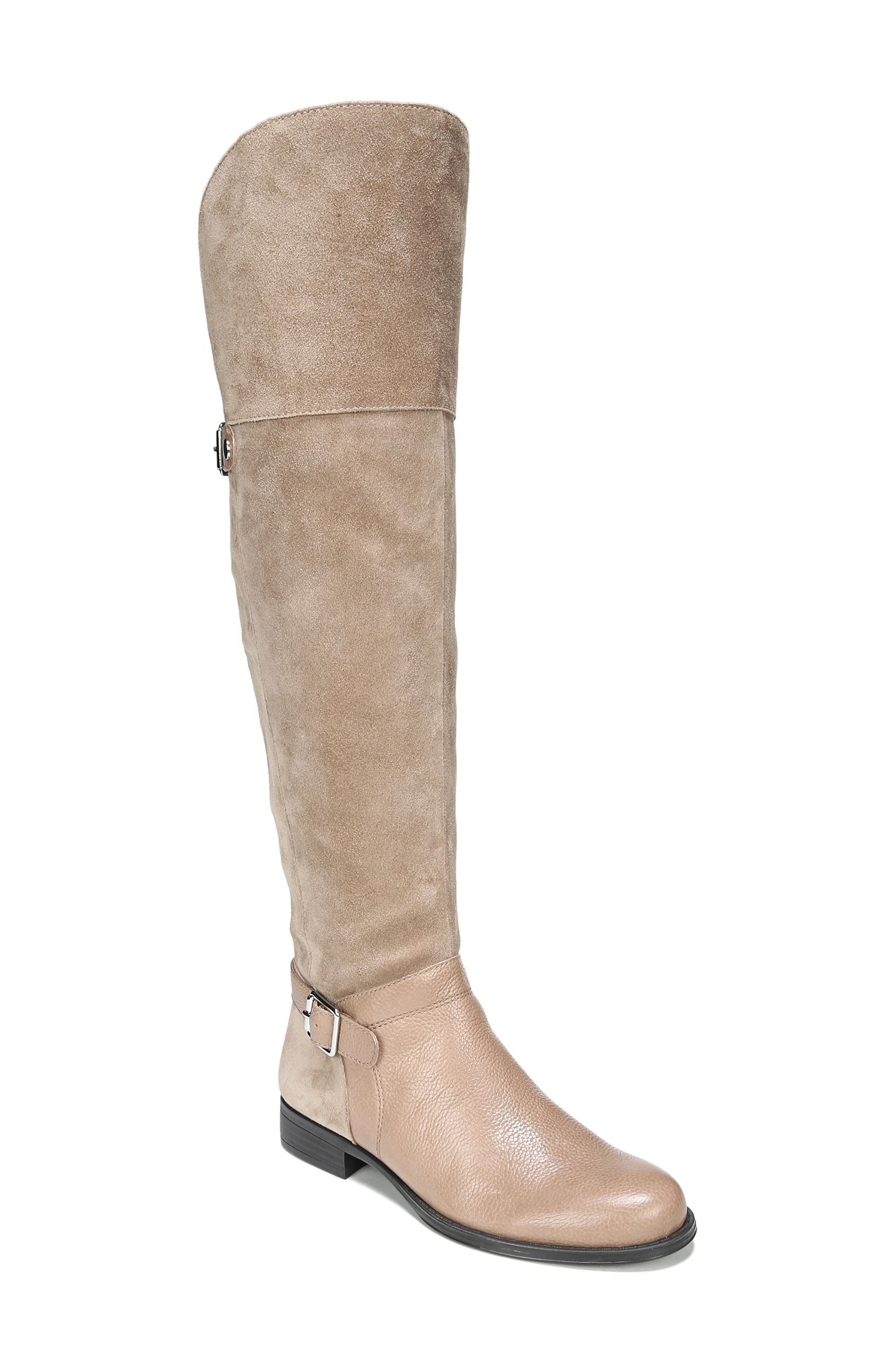 January Over the Knee High Boot,                             Main thumbnail 1, color,                             Beige Leather
