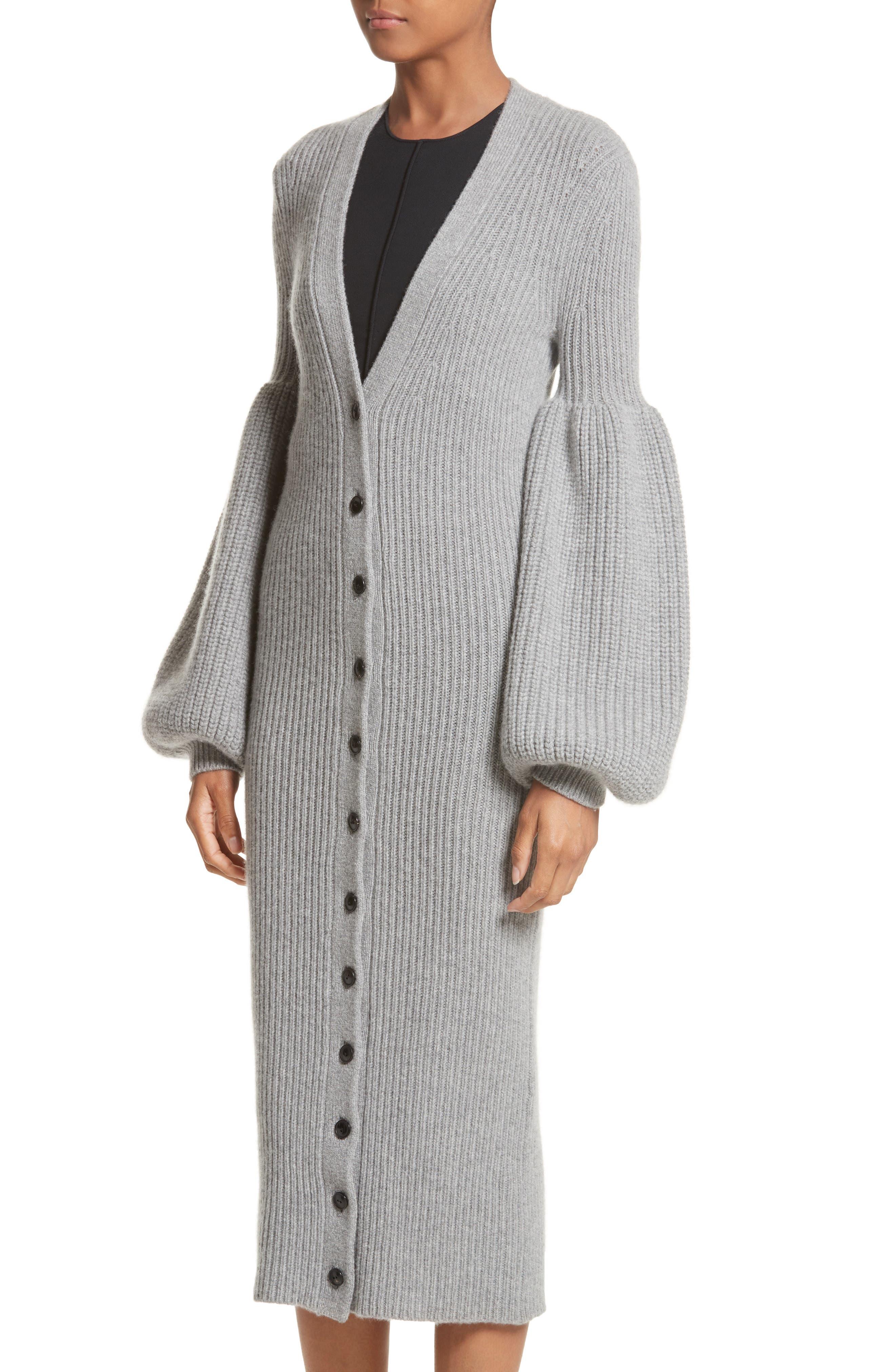 Bishop Sleeve Cardigan,                             Alternate thumbnail 4, color,                             Grey Melange
