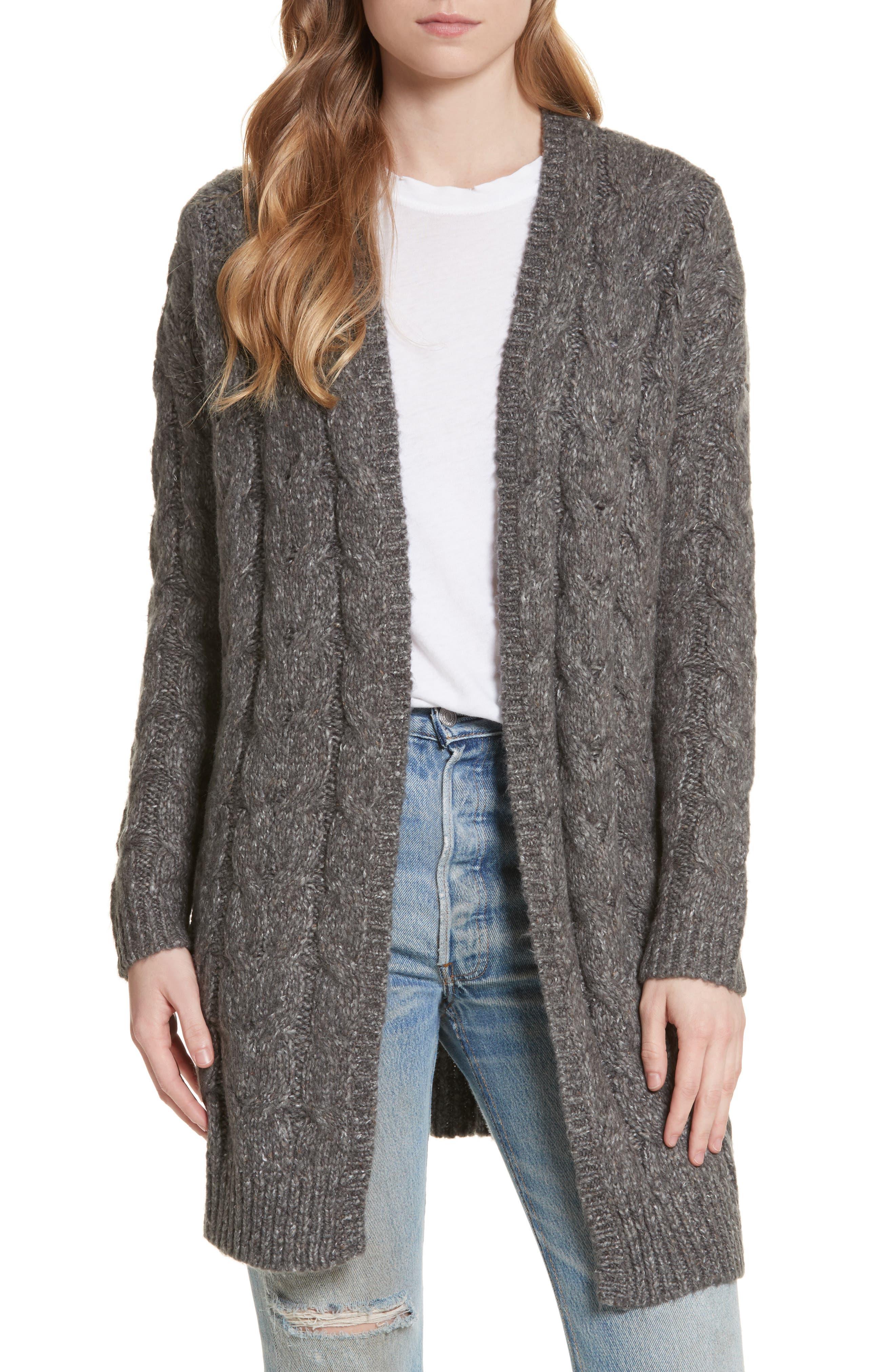 Tienna Cable-Knit Cardigan,                         Main,                         color, Dark Heather Grey