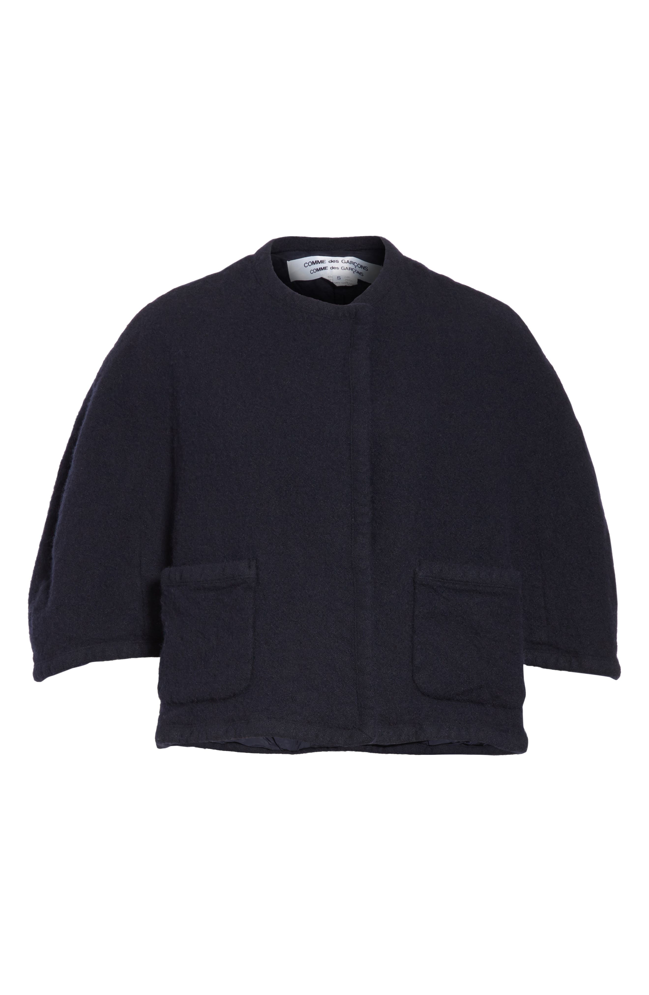 Elbow Sleeve Crop Jacket,                             Alternate thumbnail 6, color,                             Navy