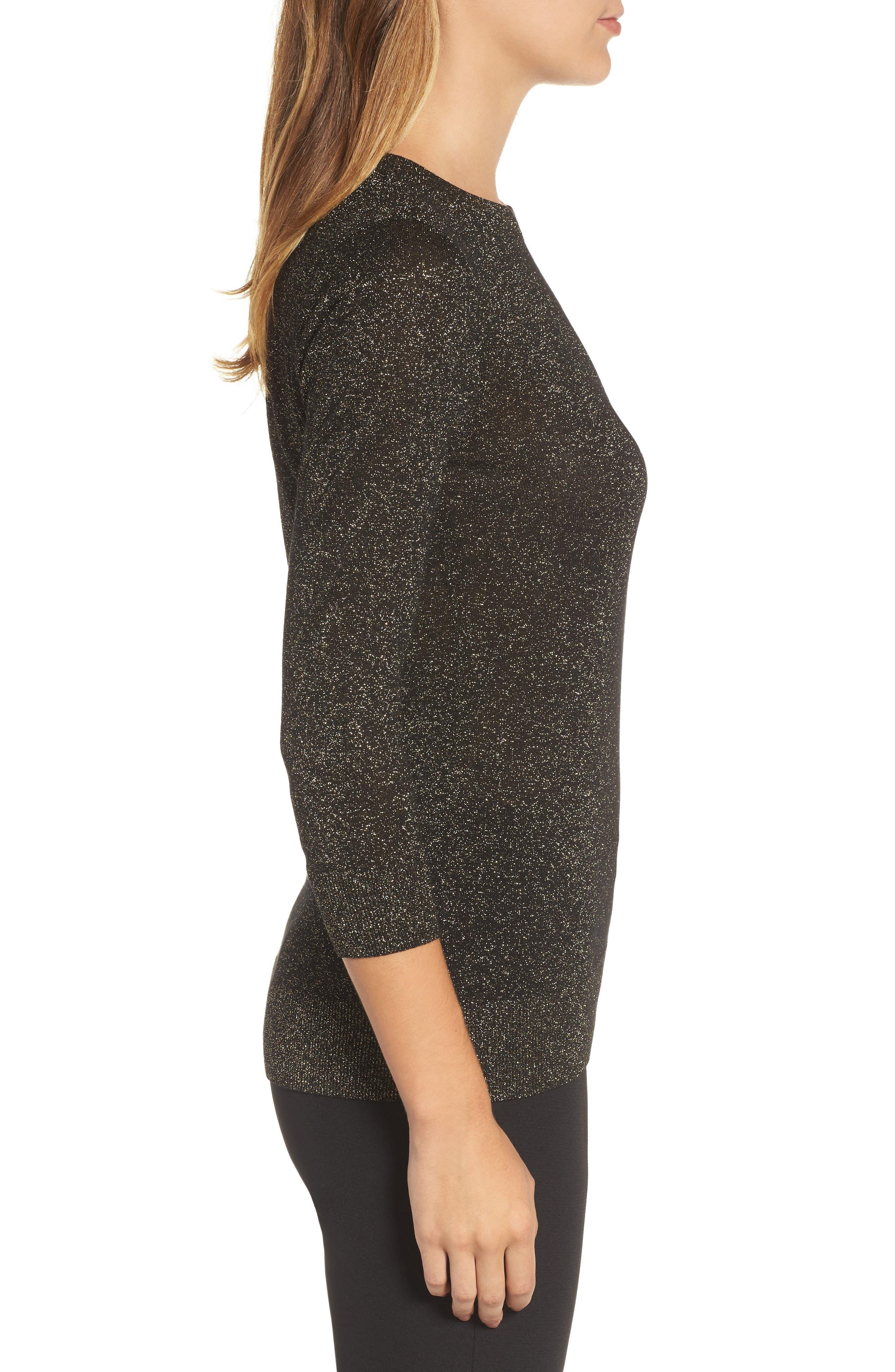 Shimmer Sweater,                             Alternate thumbnail 3, color,                             Black