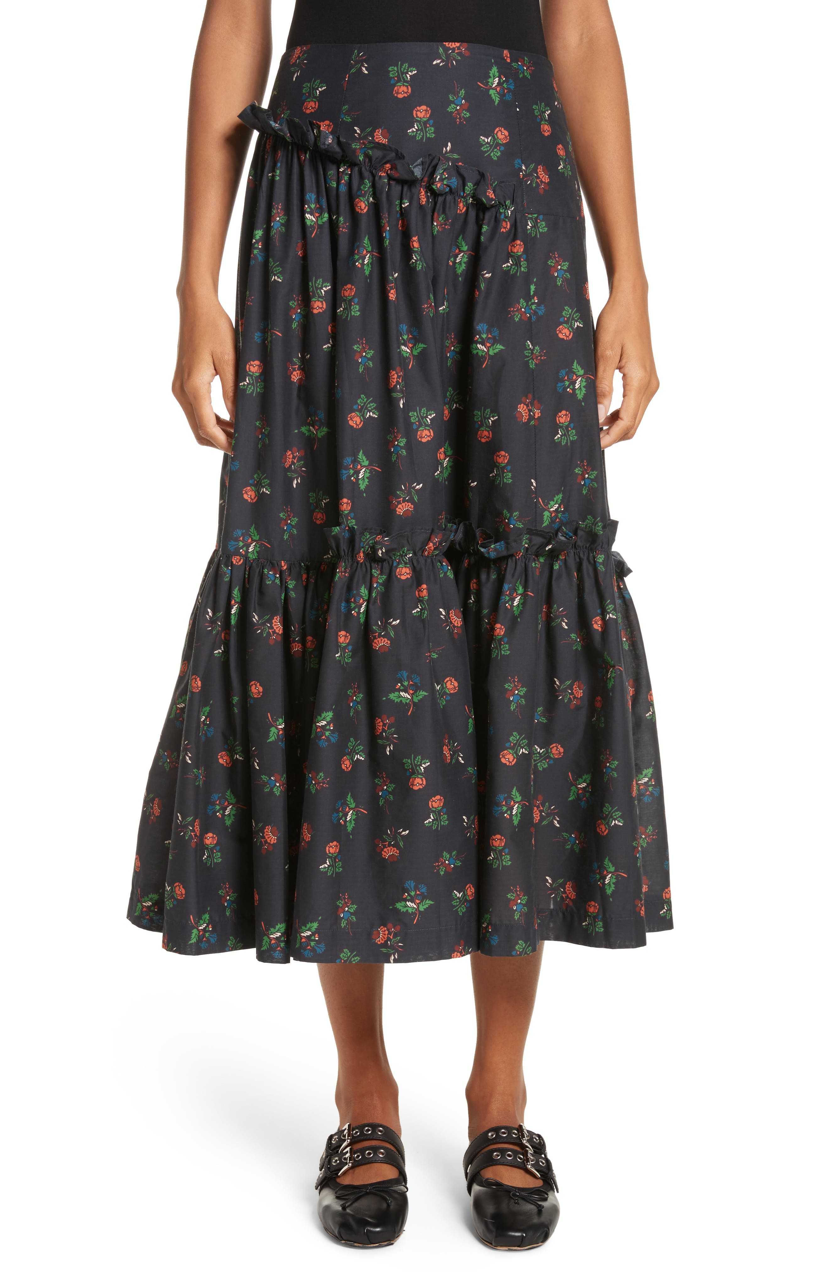 Tracey Floral Skirt,                         Main,                         color, Black