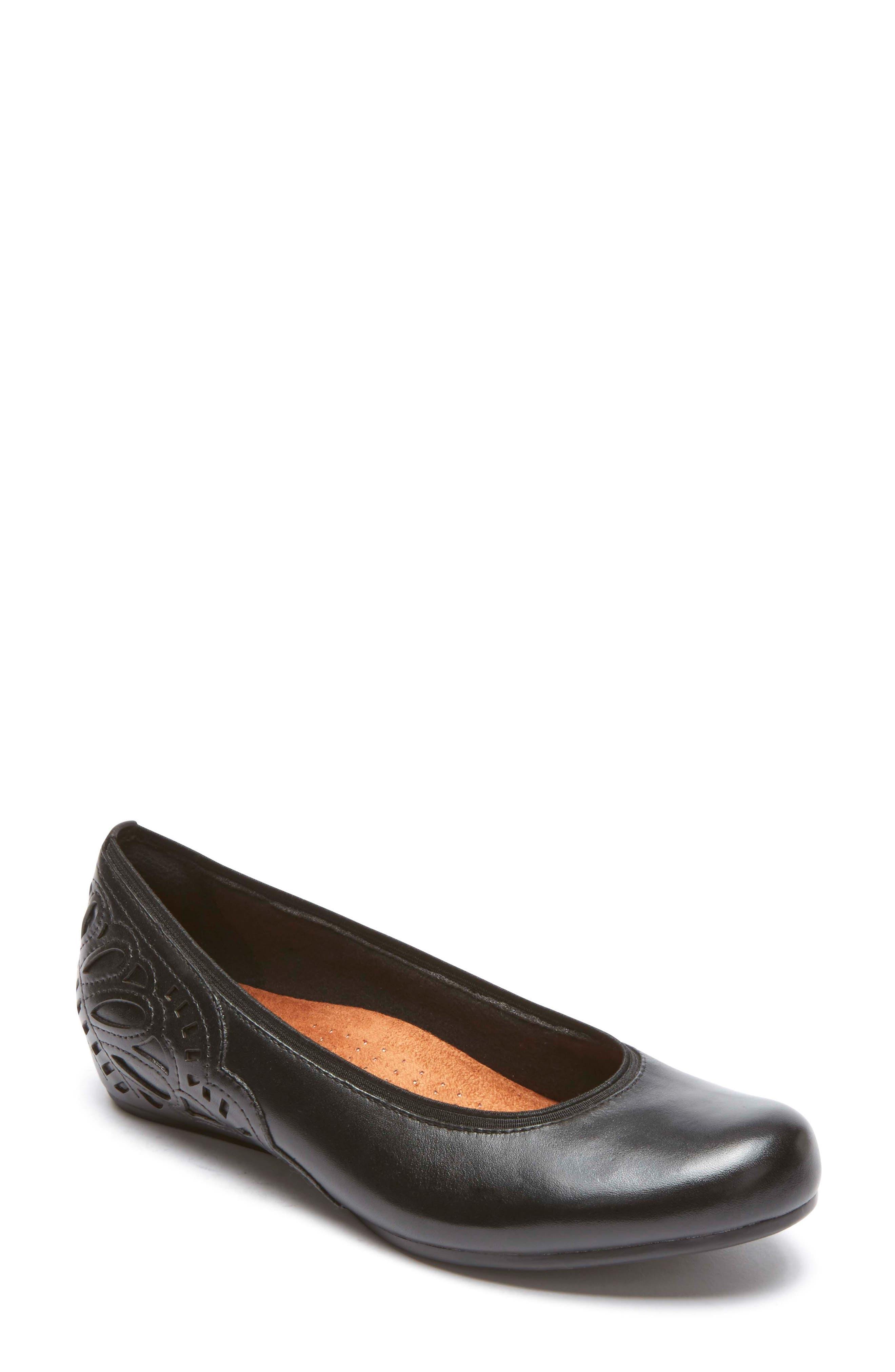 Sharleen Wedge Pump,                             Main thumbnail 1, color,                             Black Leather