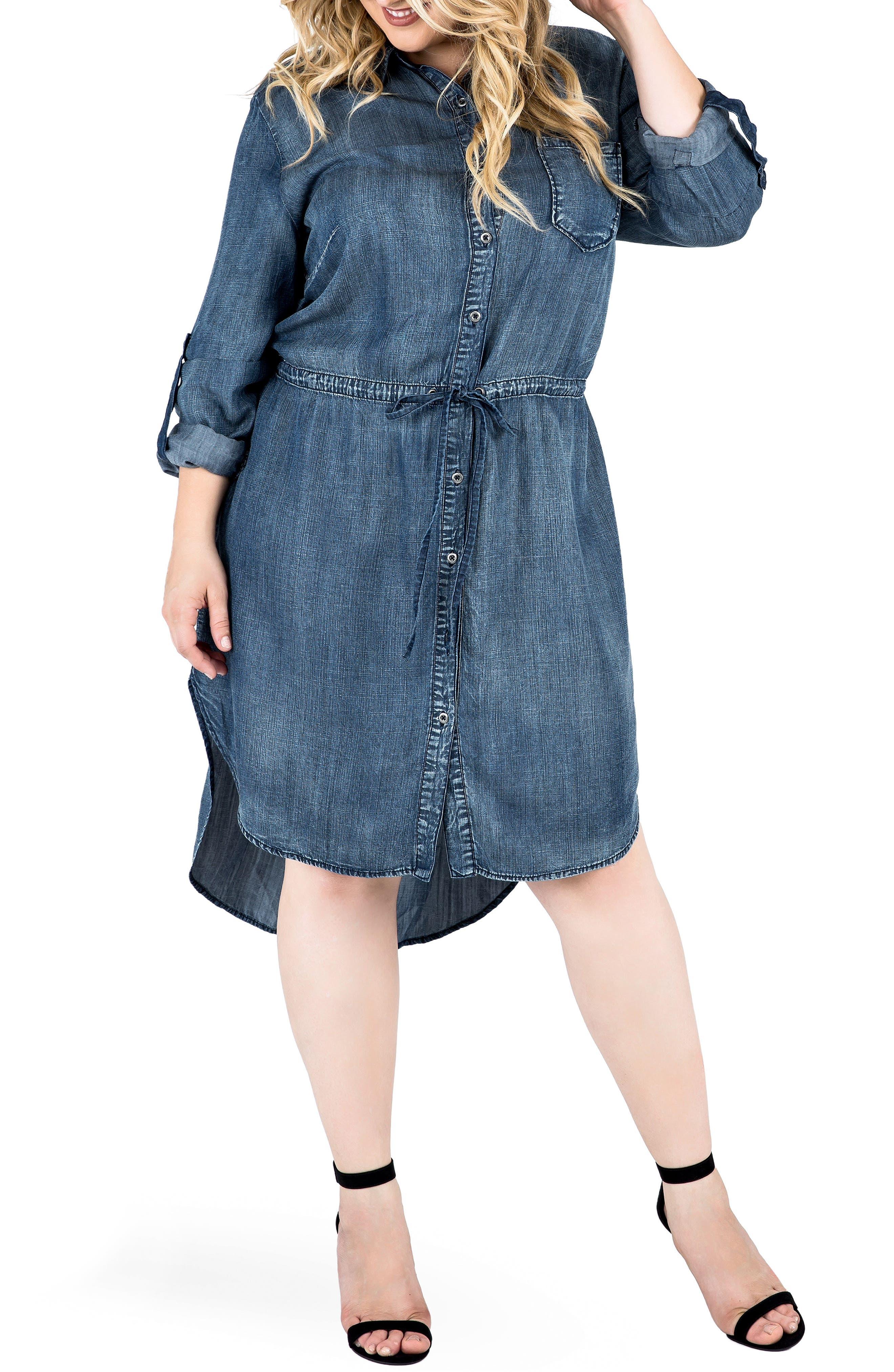 Alternate Image 5  - Standards & Practices Paige Denim Shirtdress (Plus Size)