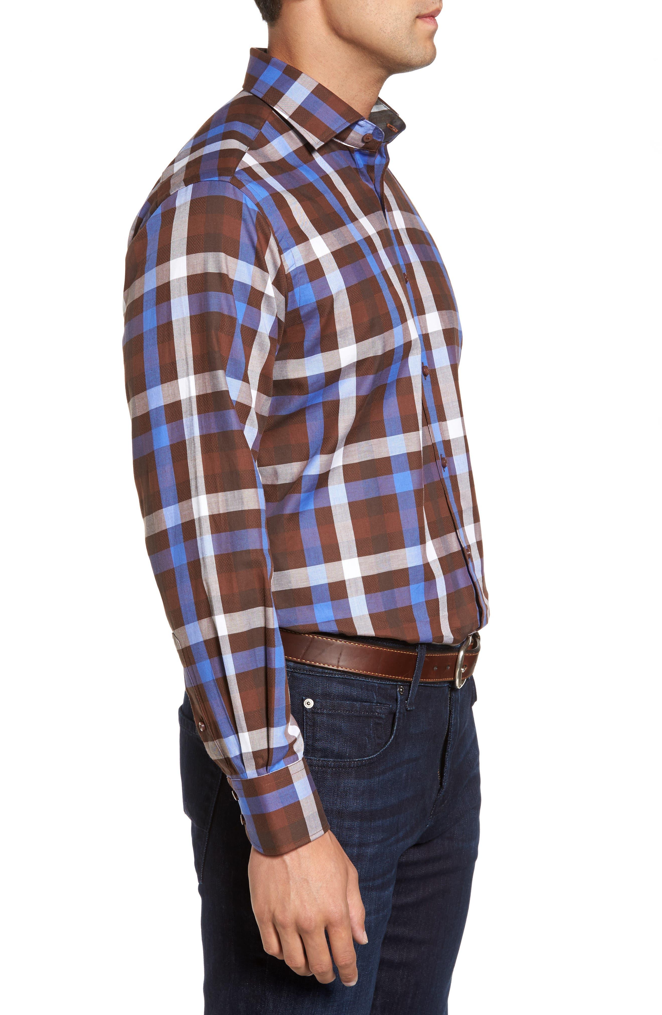 Regular Fit Dobby Check Sport Shirt,                             Alternate thumbnail 3, color,                             Brown