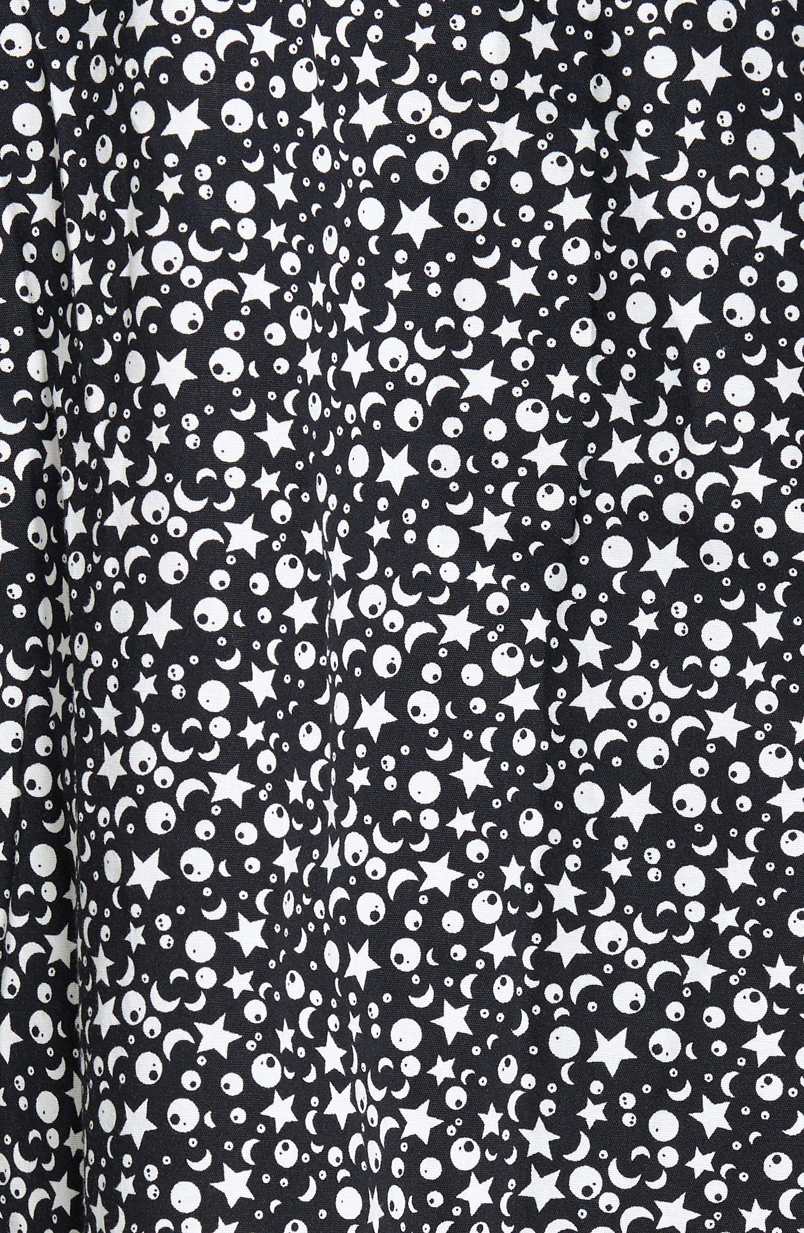 Trim Fit Star Print Sport Shirt,                             Alternate thumbnail 5, color,                             Black Star Print