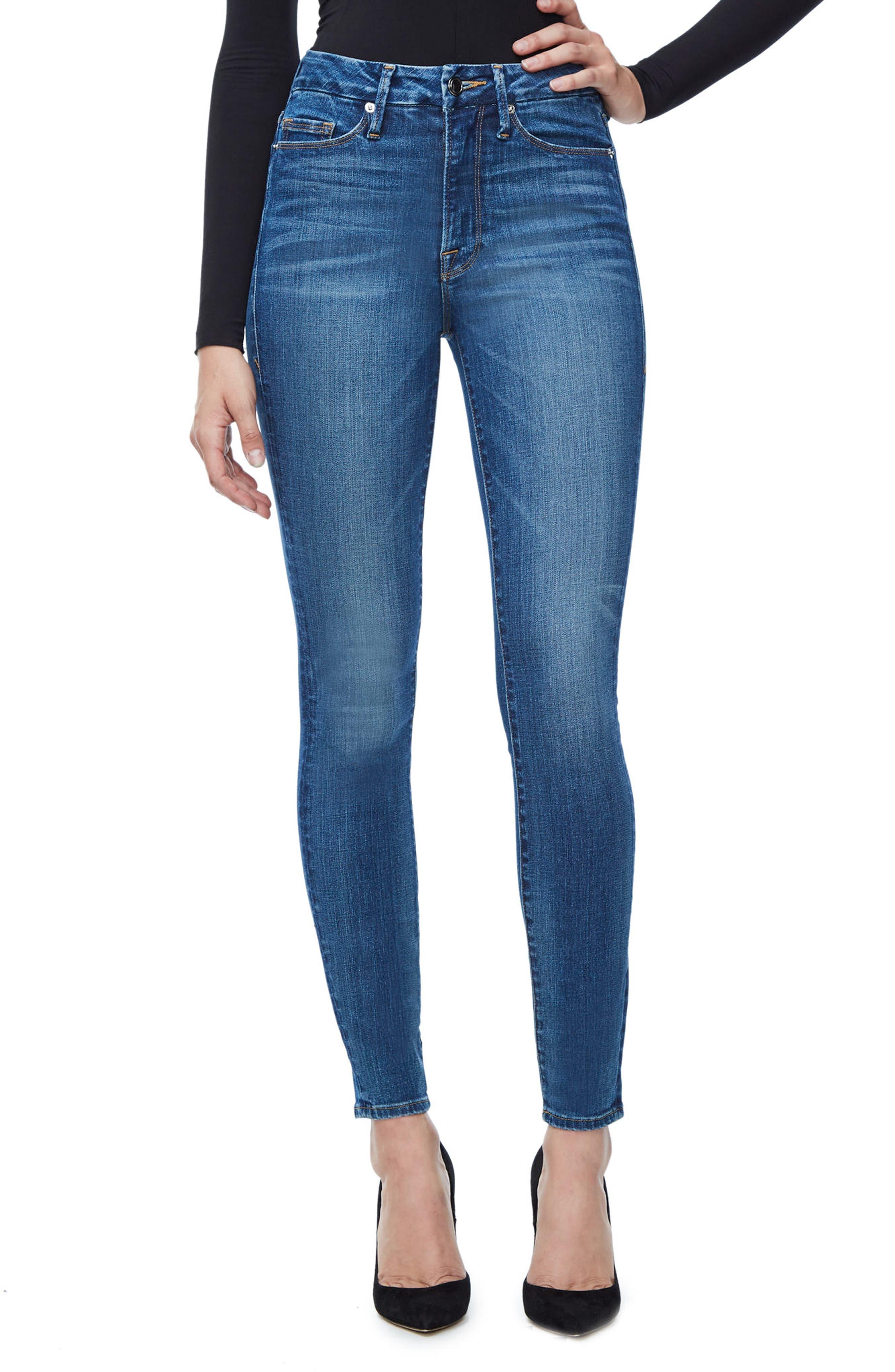 Good American Good Waist High Waist Skinny Jeans (Blue 093) (Extended Sizes)