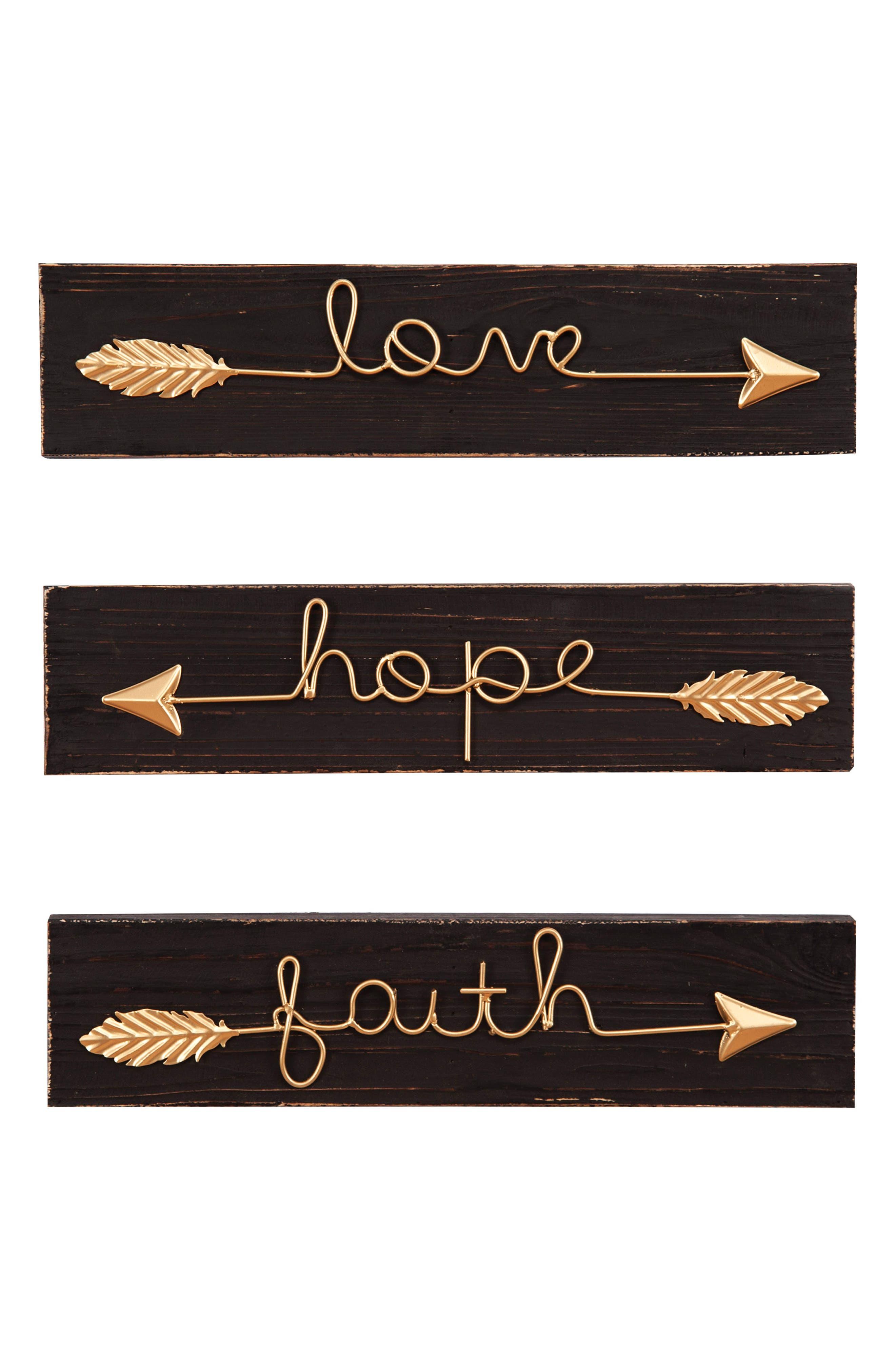 Set of 3 Arrow Signs,                         Main,                         color, Wood/ Metal