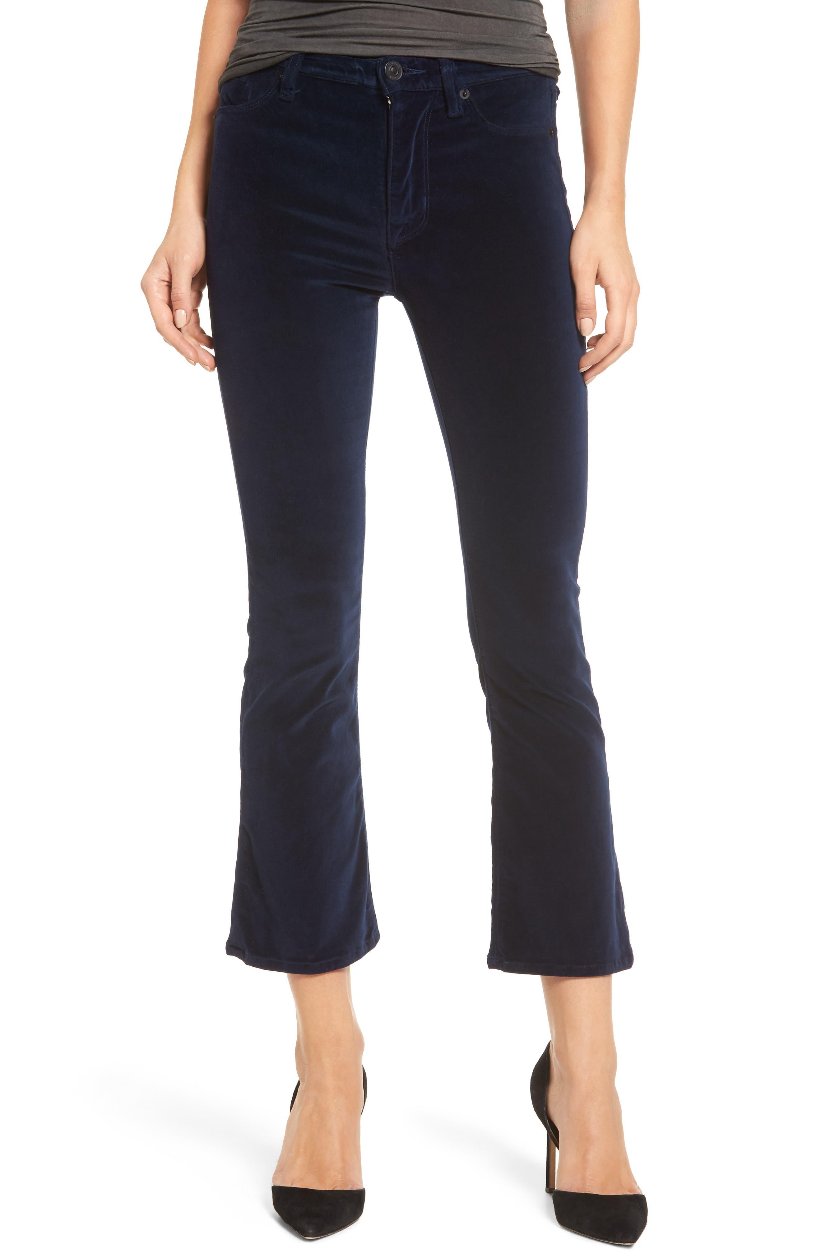 Brix Velvet High Waist Crop Bootcut Pants,                         Main,                         color, Dark Obsidian