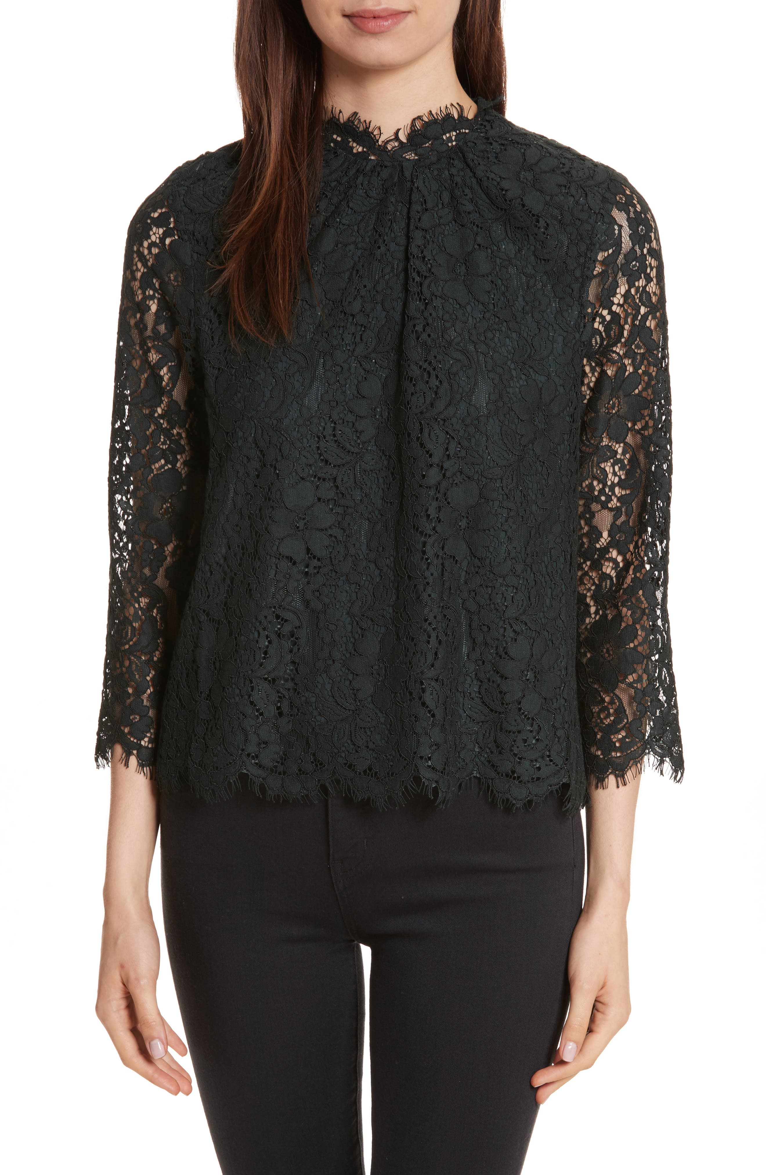 Joie Frayda Sheer Sleeve Lace Top
