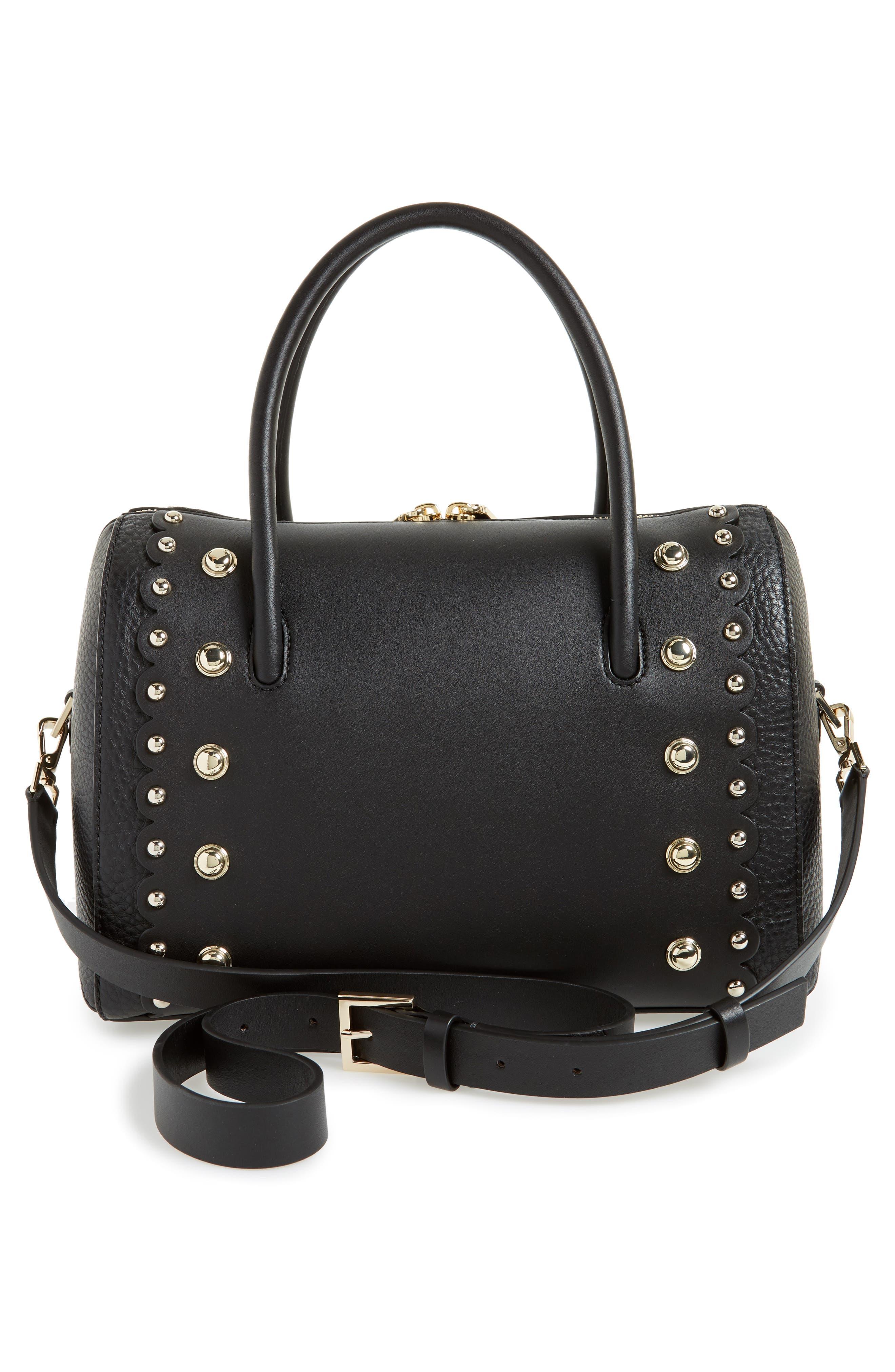 madison stewart studded mega lane leather satchel,                             Alternate thumbnail 2, color,                             Black