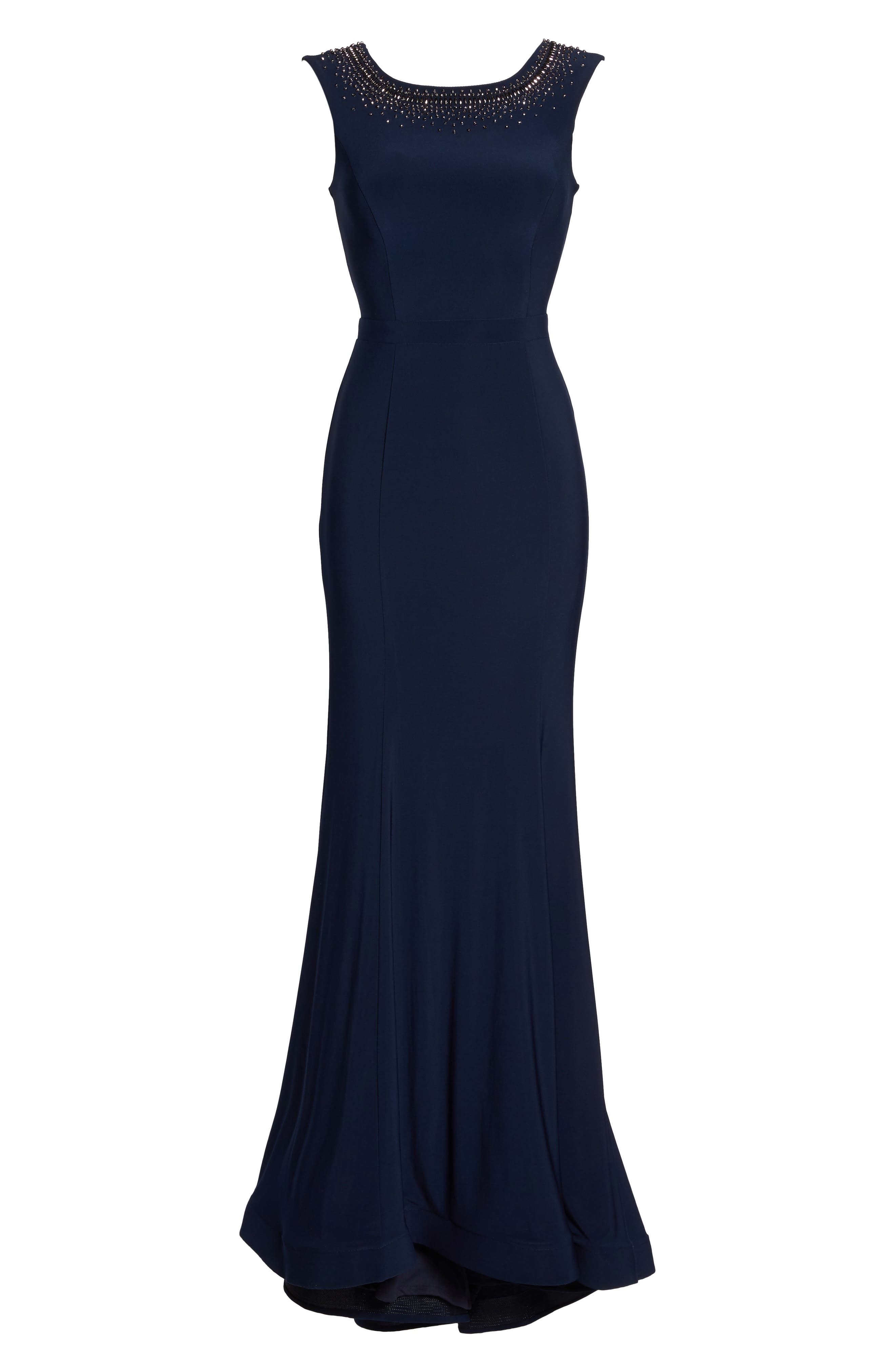 Beaded Ruffle Back Jersey Trumpet Gown,                             Alternate thumbnail 6, color,                             Navy/ Gunmetal