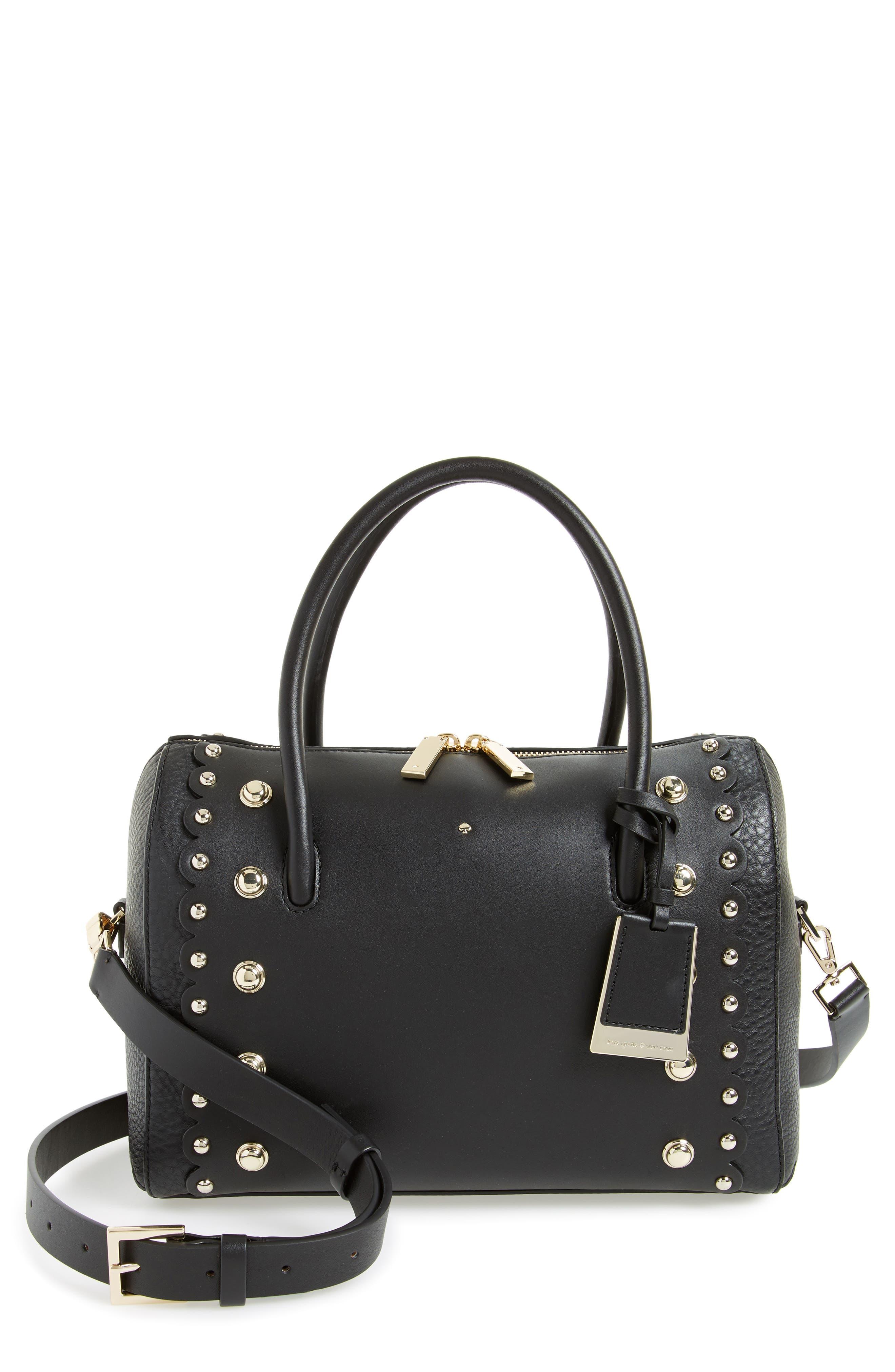 madison stewart studded mega lane leather satchel,                             Main thumbnail 1, color,                             Black