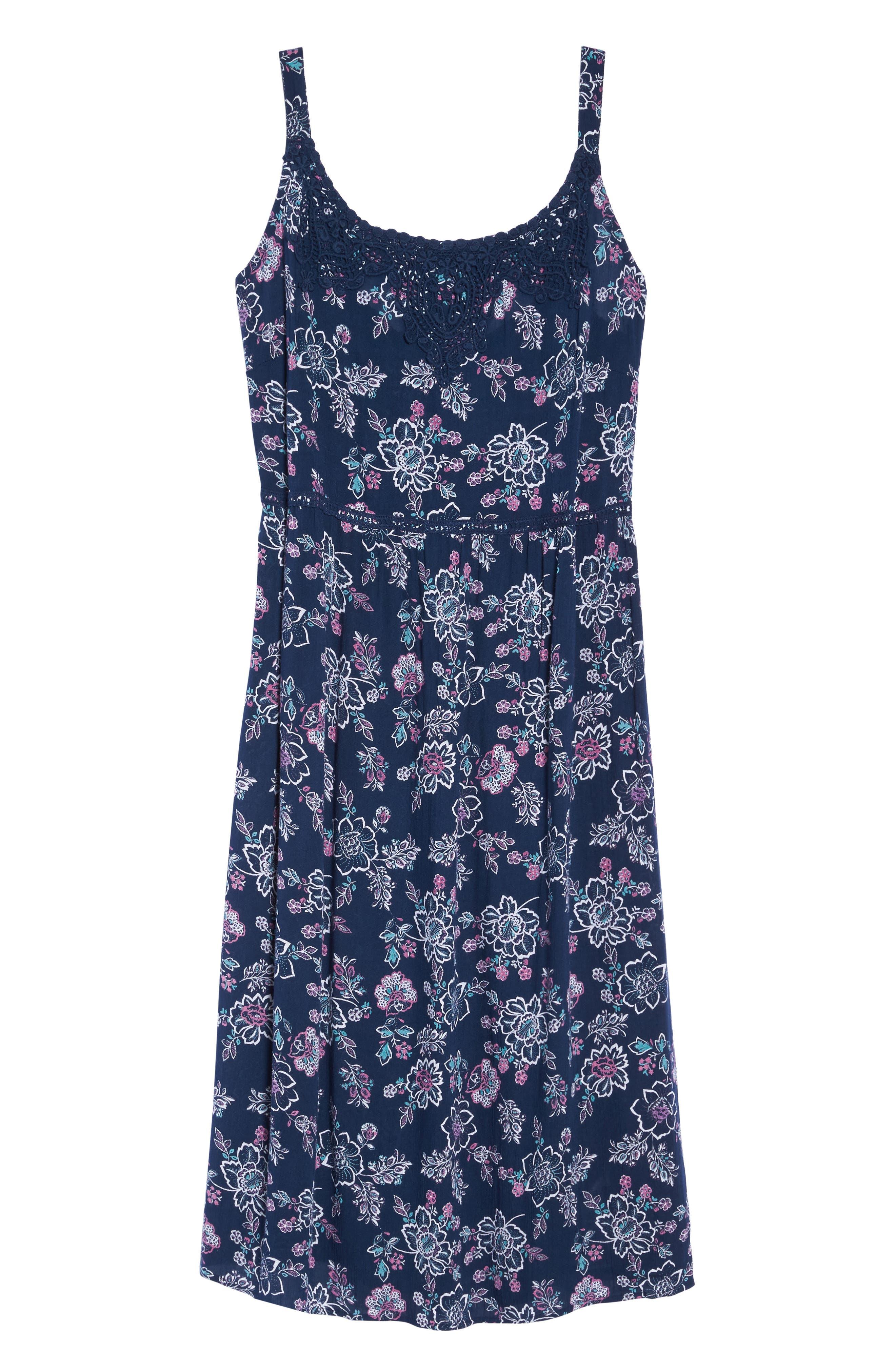 Floral Print Crochet Trim Dress,                             Alternate thumbnail 6, color,                             Navy