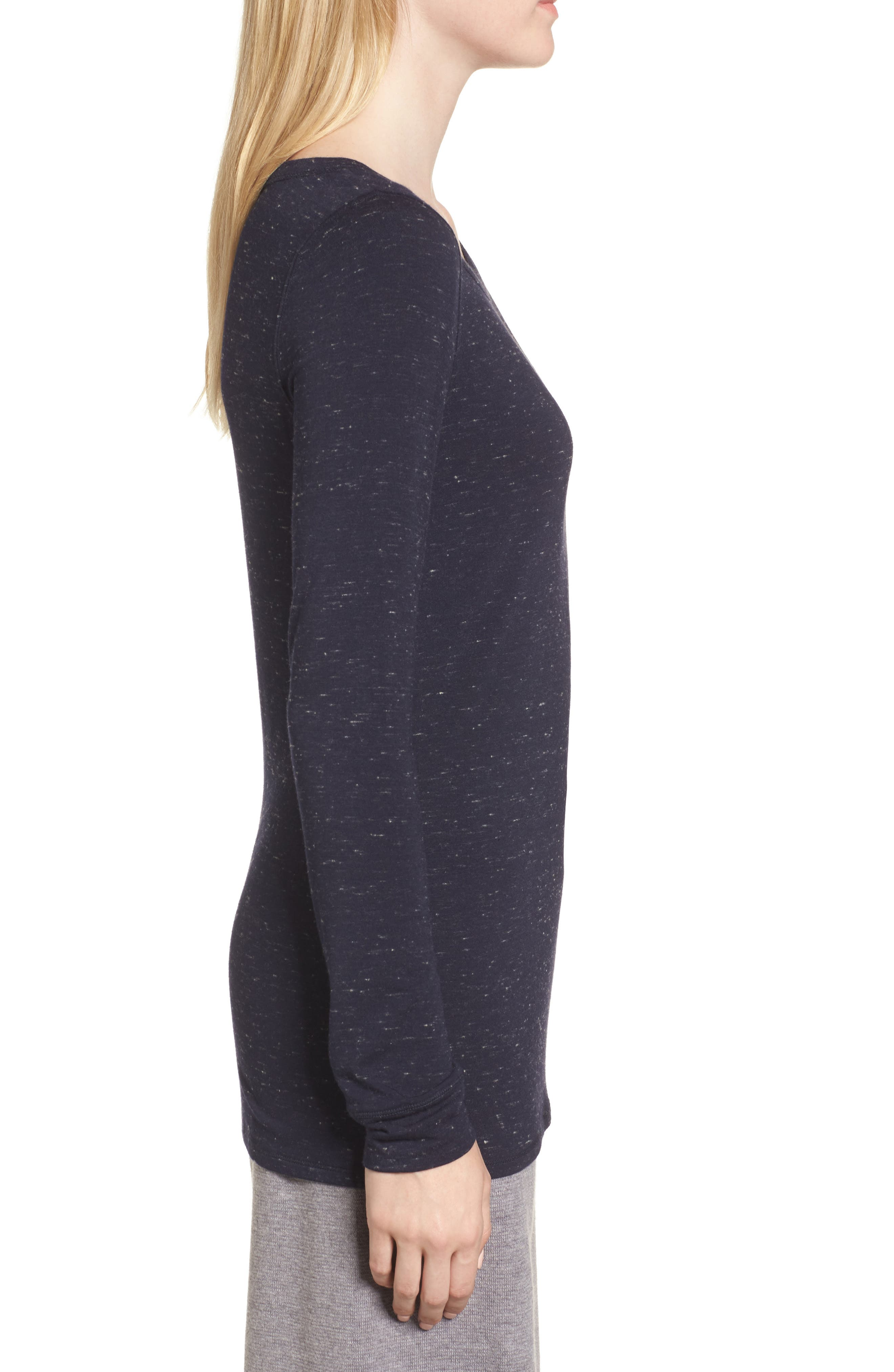 Long Sleeve Slub Knit Tee,                             Alternate thumbnail 3, color,                             Navy- Ivory Speckled Combo