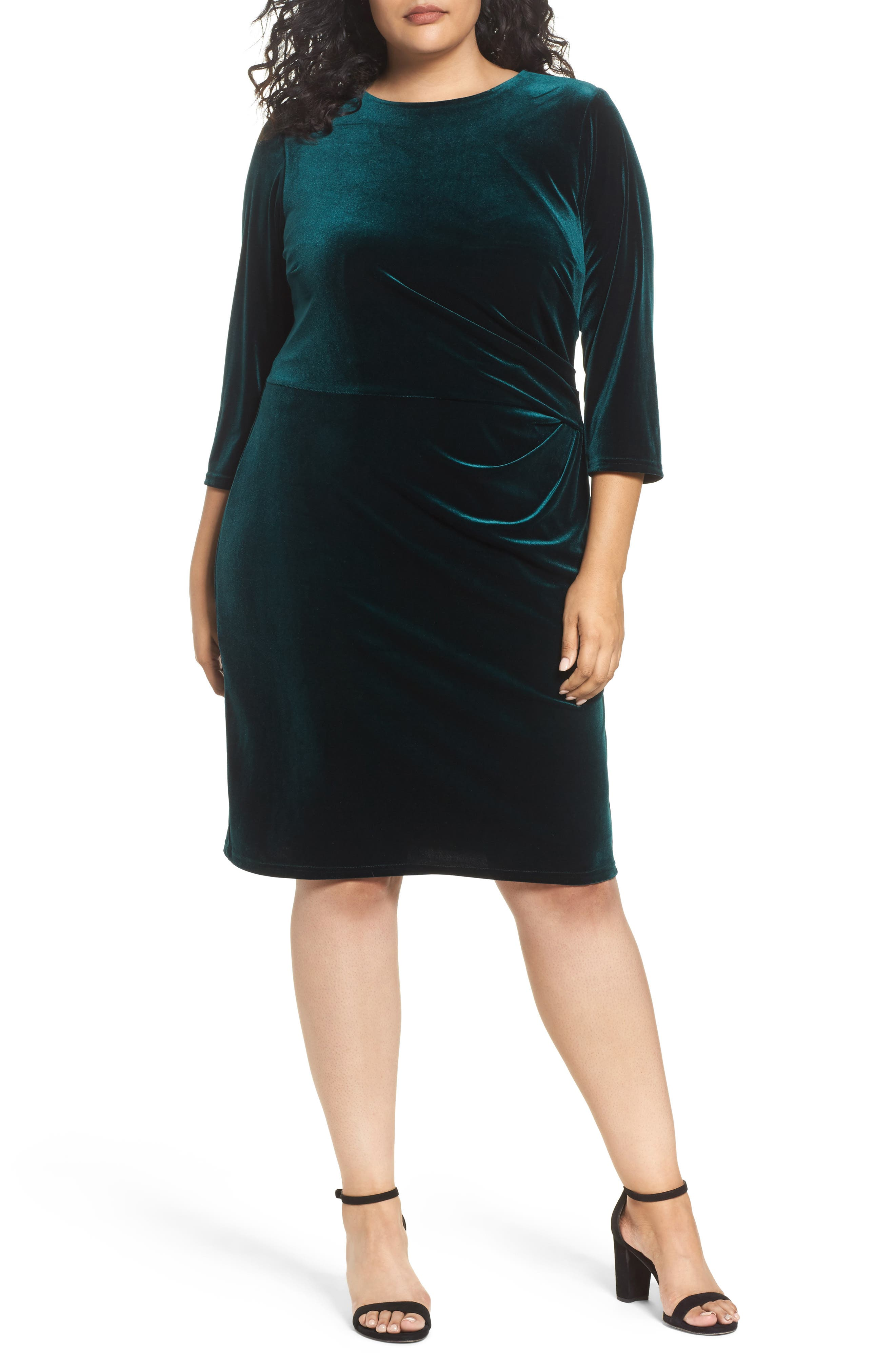 Stretch Velvet Sheath Dress,                         Main,                         color, Hunter