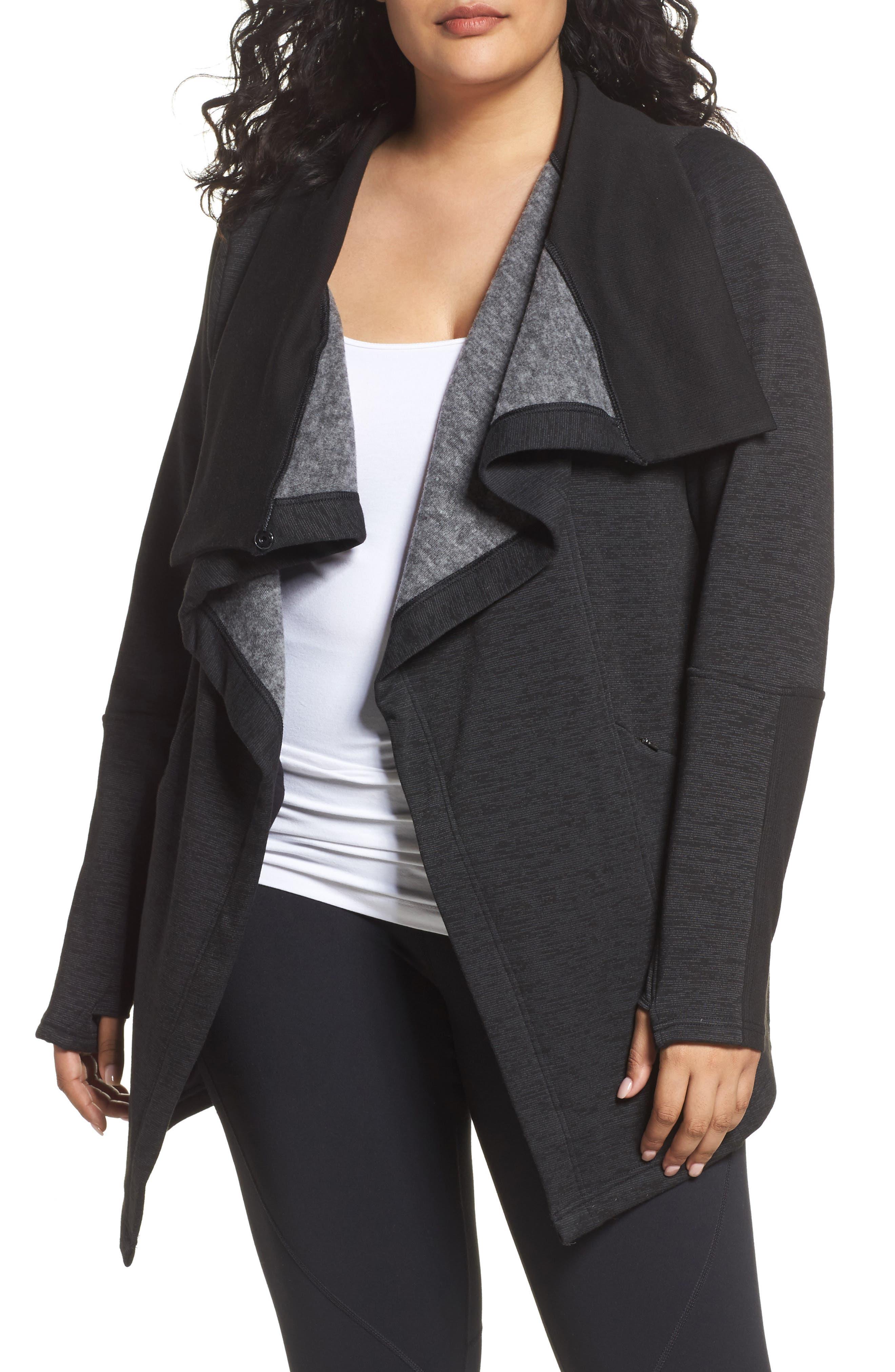 Main Image - Zella Elevate Me Wrap Sweatshirt (Plus Size)