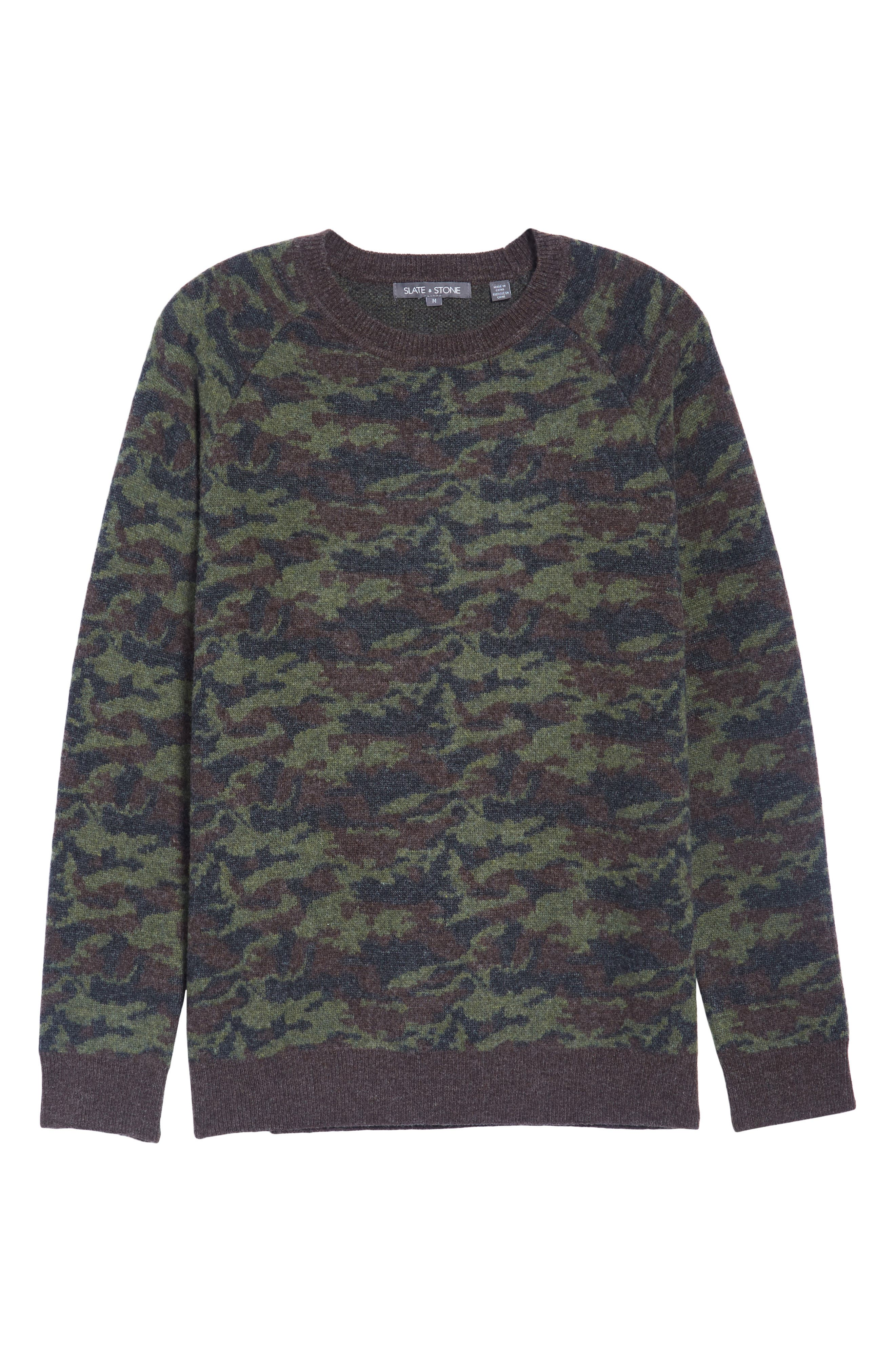 Wool Camo Sweater,                             Alternate thumbnail 6, color,                             Green Camo
