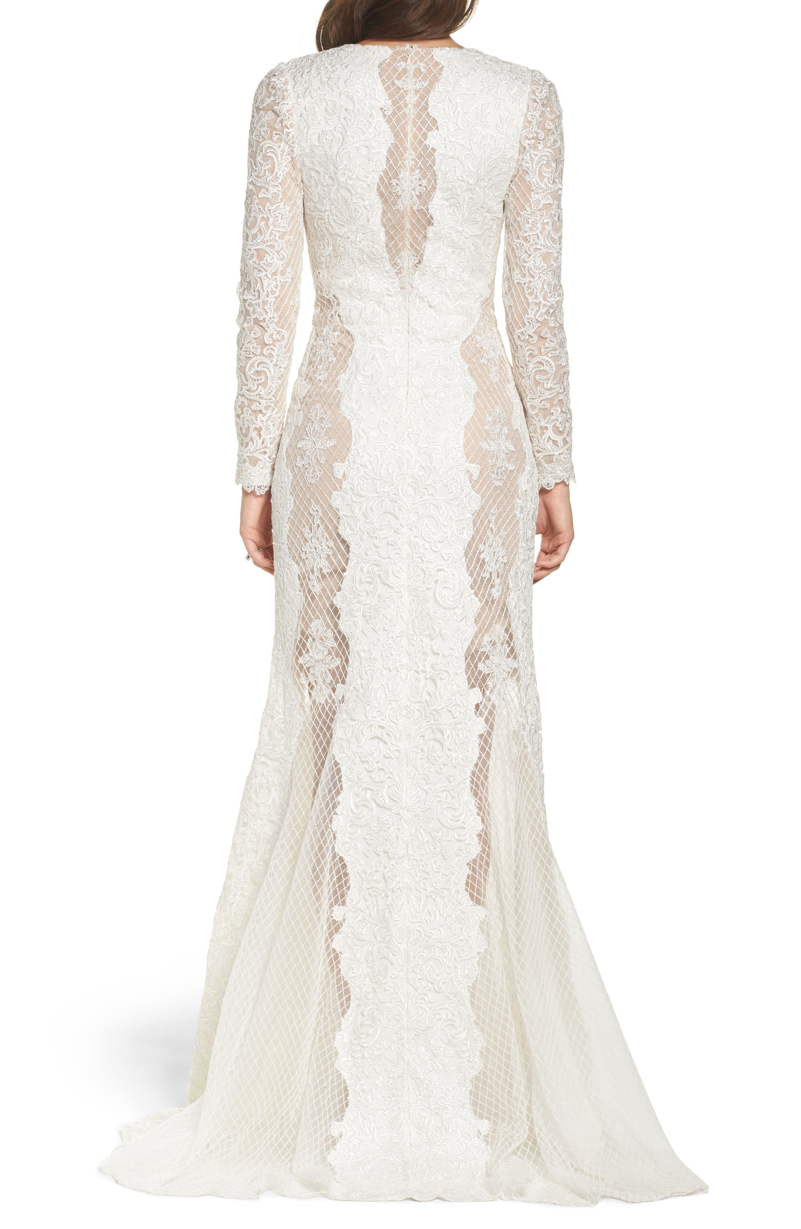 Lace & Mesh Trumpet Gown,                             Alternate thumbnail 2, color,                             Ivory