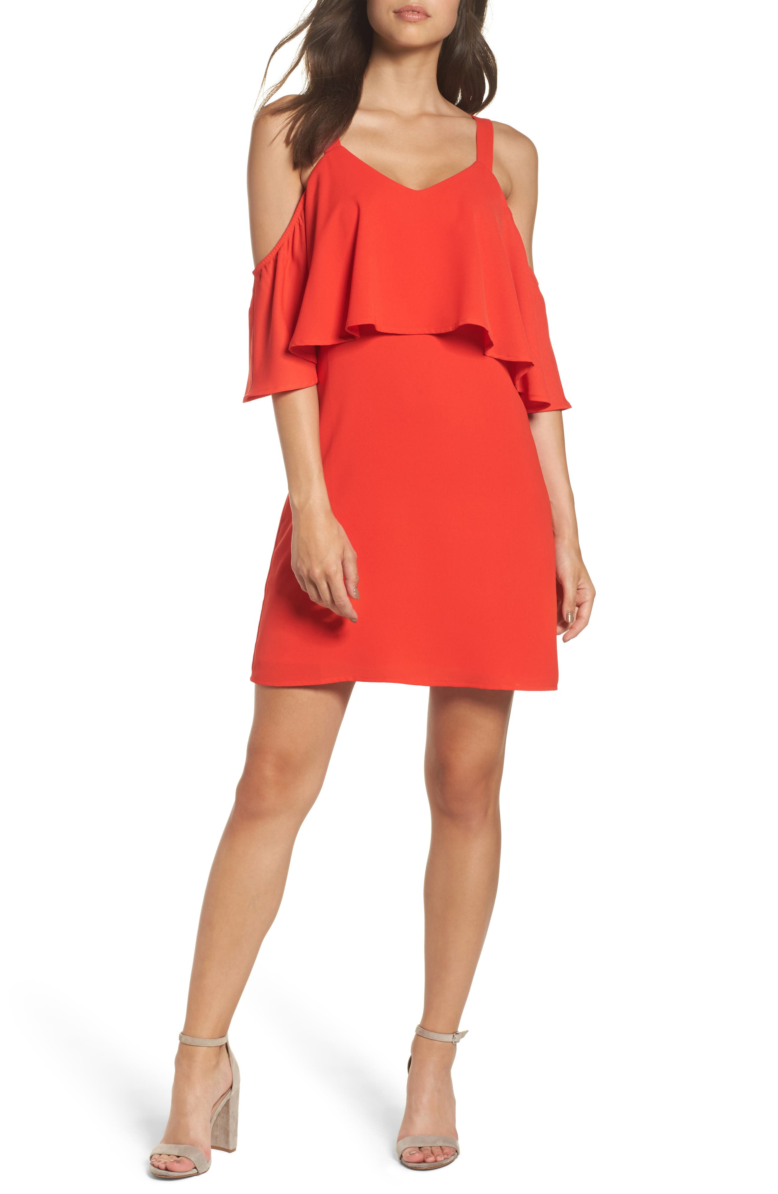 Crepe Cold Shoulder Dress,                         Main,                         color, Coral Orange