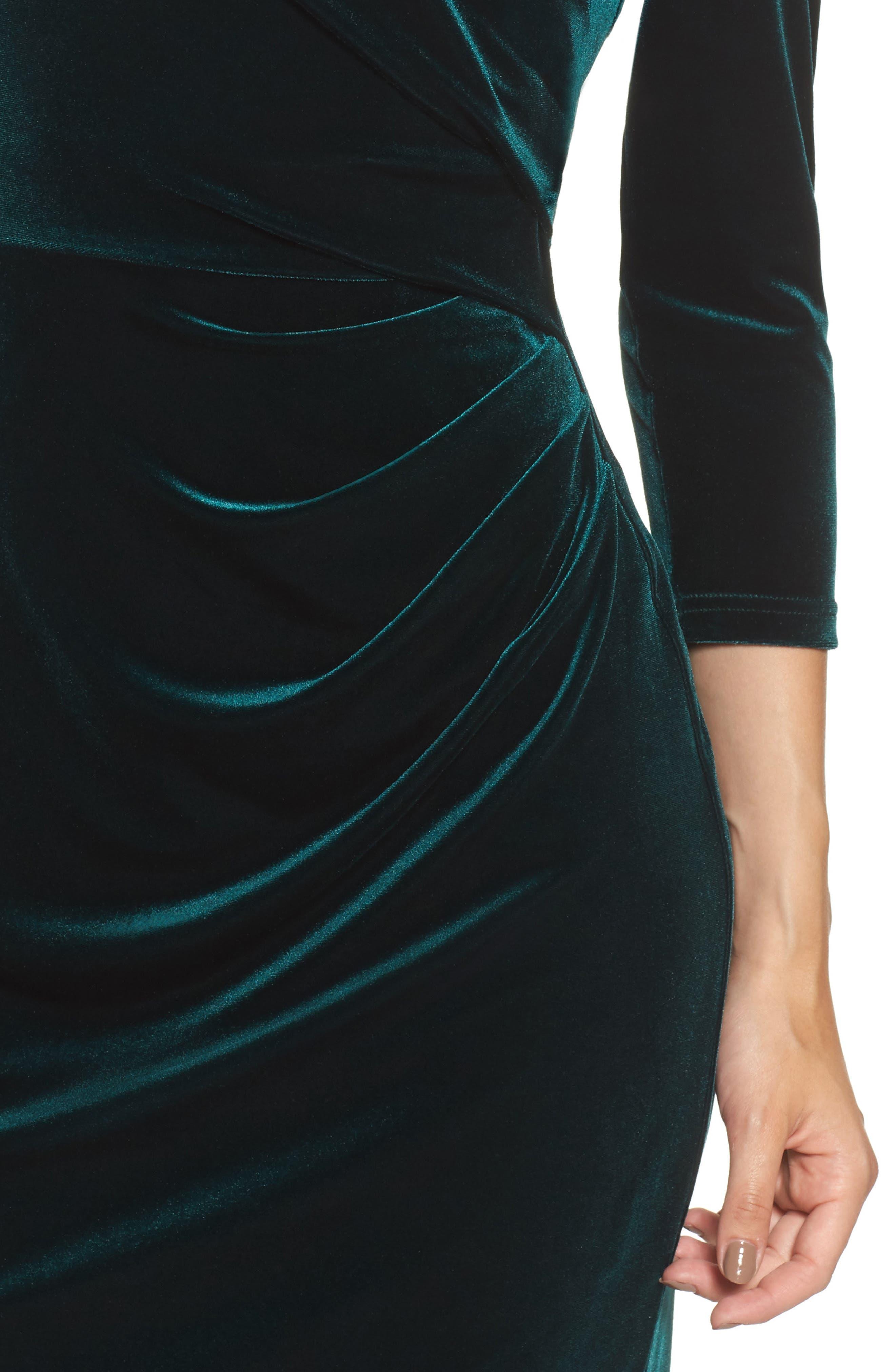 Velvet Sheath Dress,                             Alternate thumbnail 4, color,                             Hunter