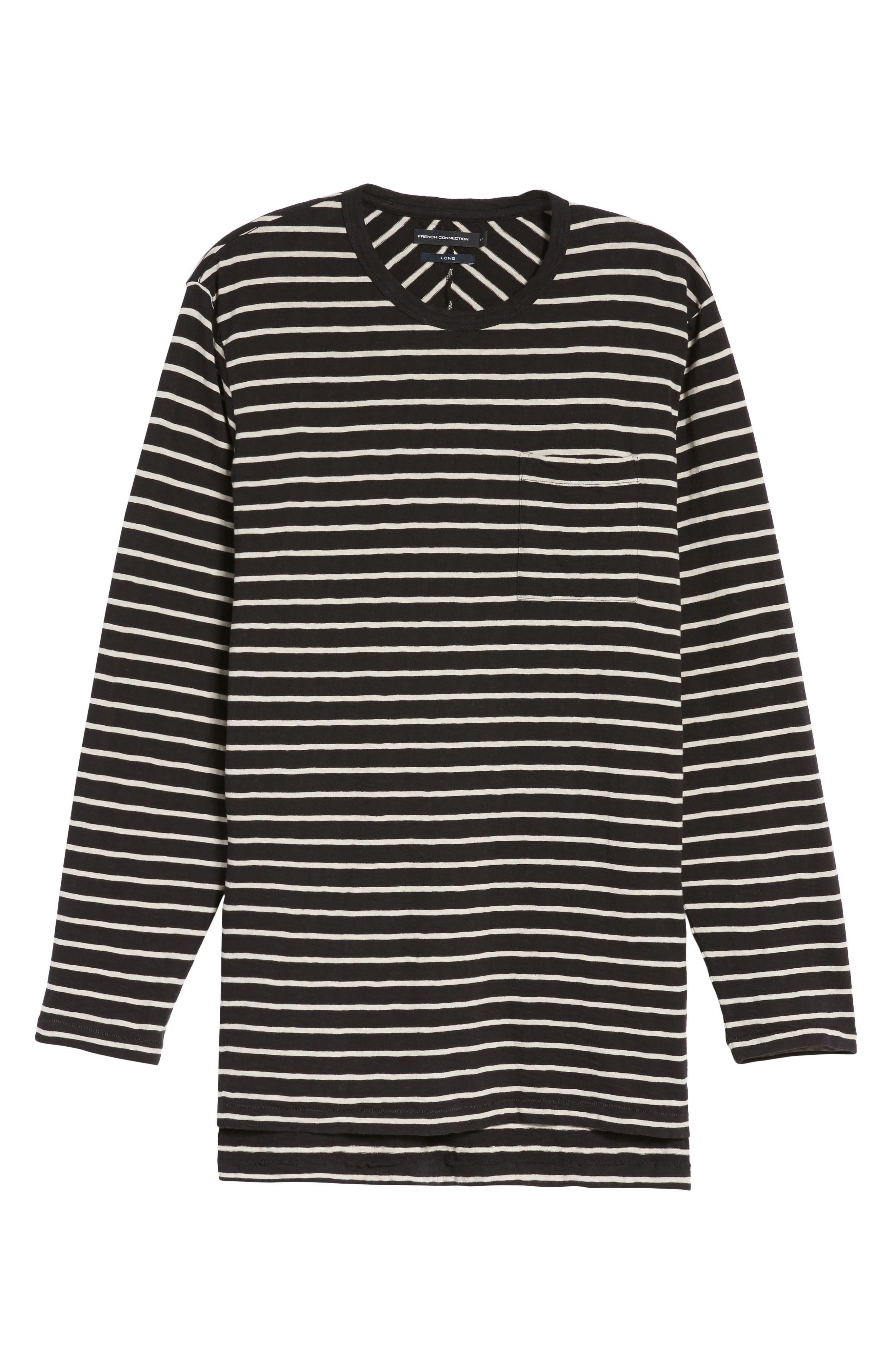 Stripe Longline T-Shirt,                             Alternate thumbnail 6, color,                             Black/ Clay