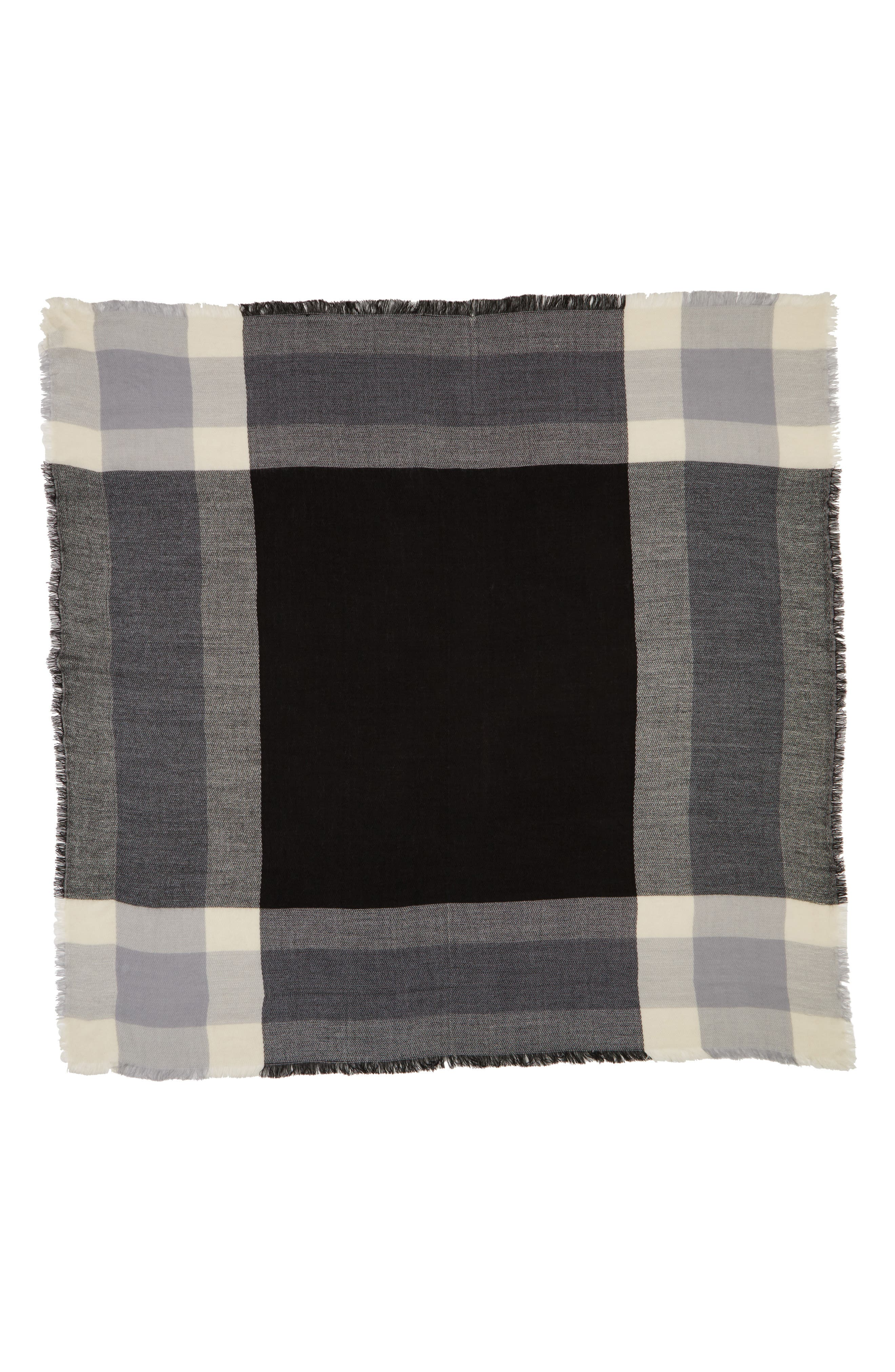 Accessory Collective Plaid Scarf,                             Alternate thumbnail 2, color,                             Black/ Grey