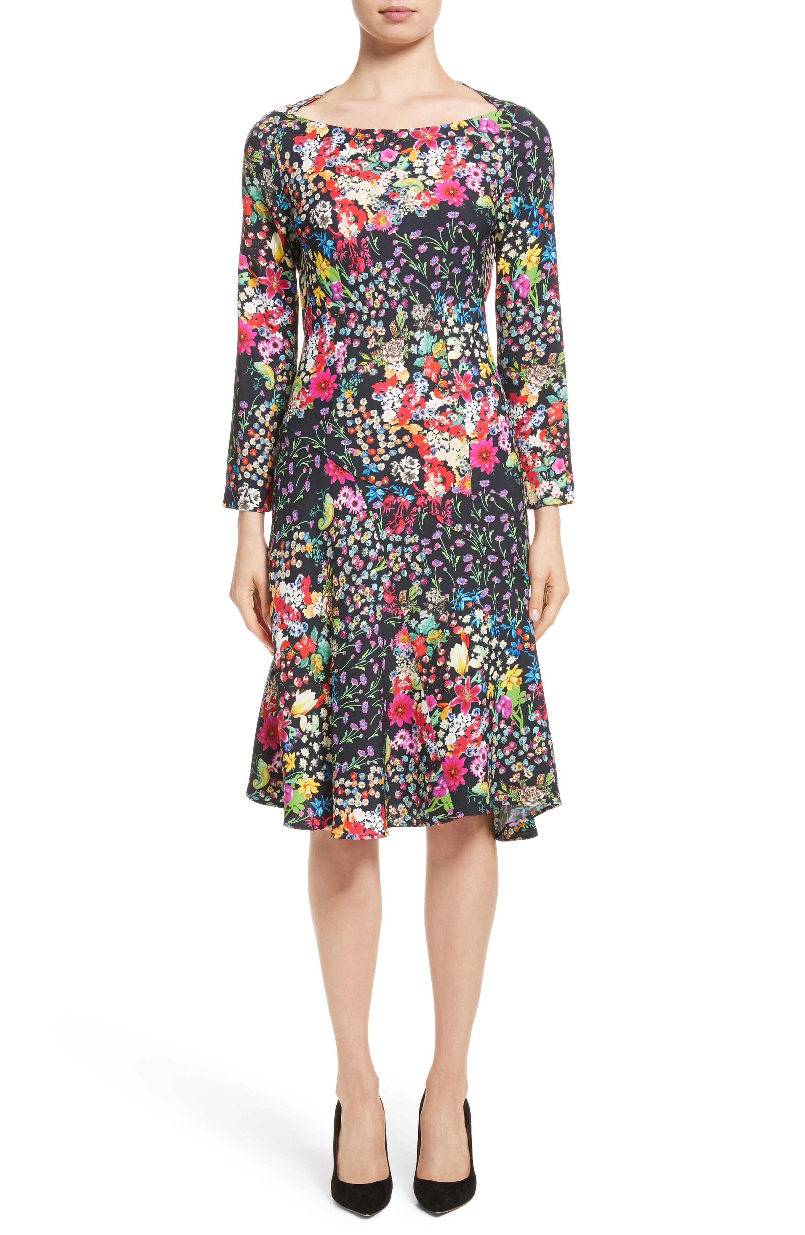 Micro Floral Print Dress,                         Main,                         color, Black