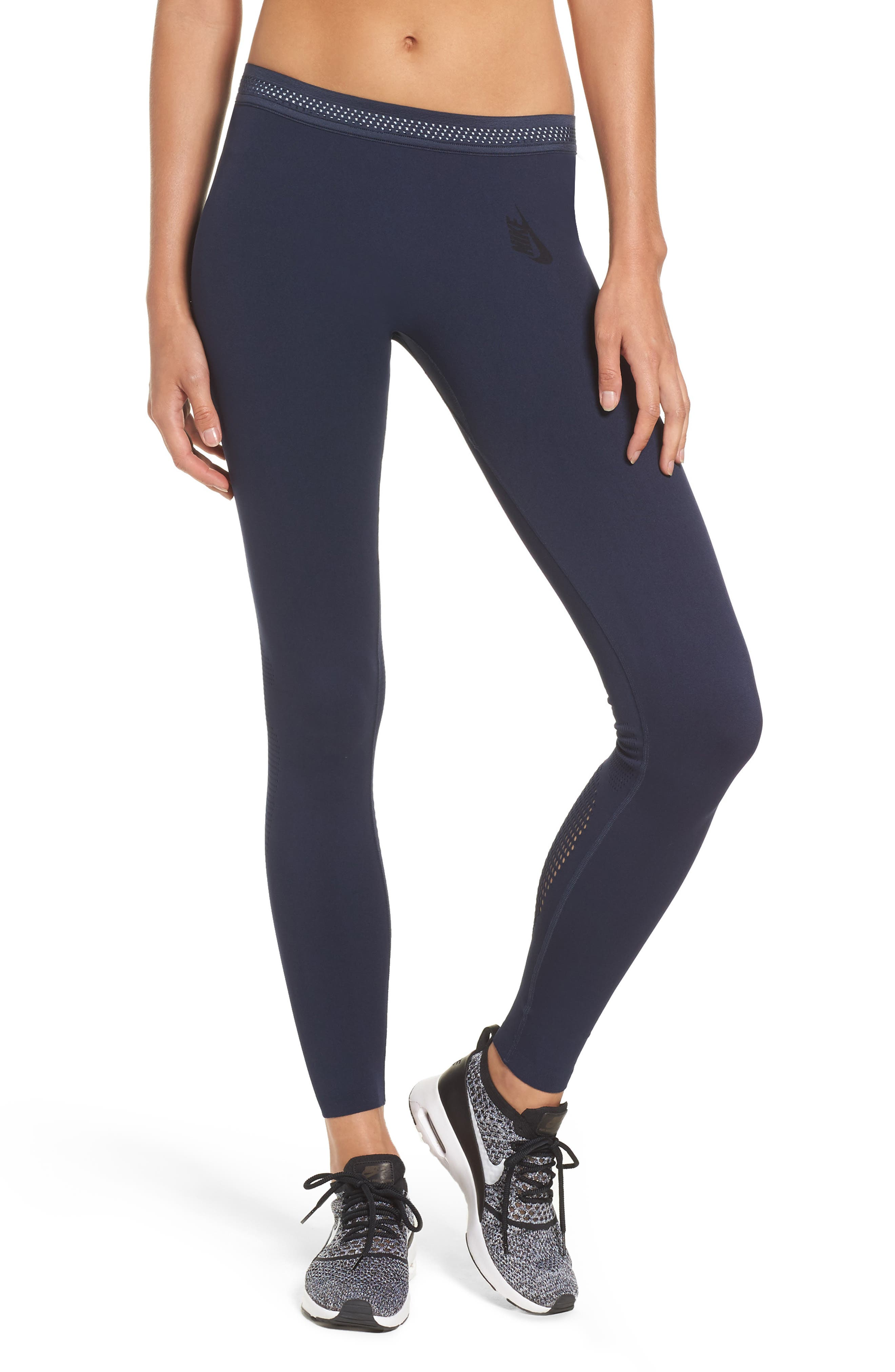 NikeLab Essential Training Tights,                             Main thumbnail 1, color,                             Obsidian/ Black