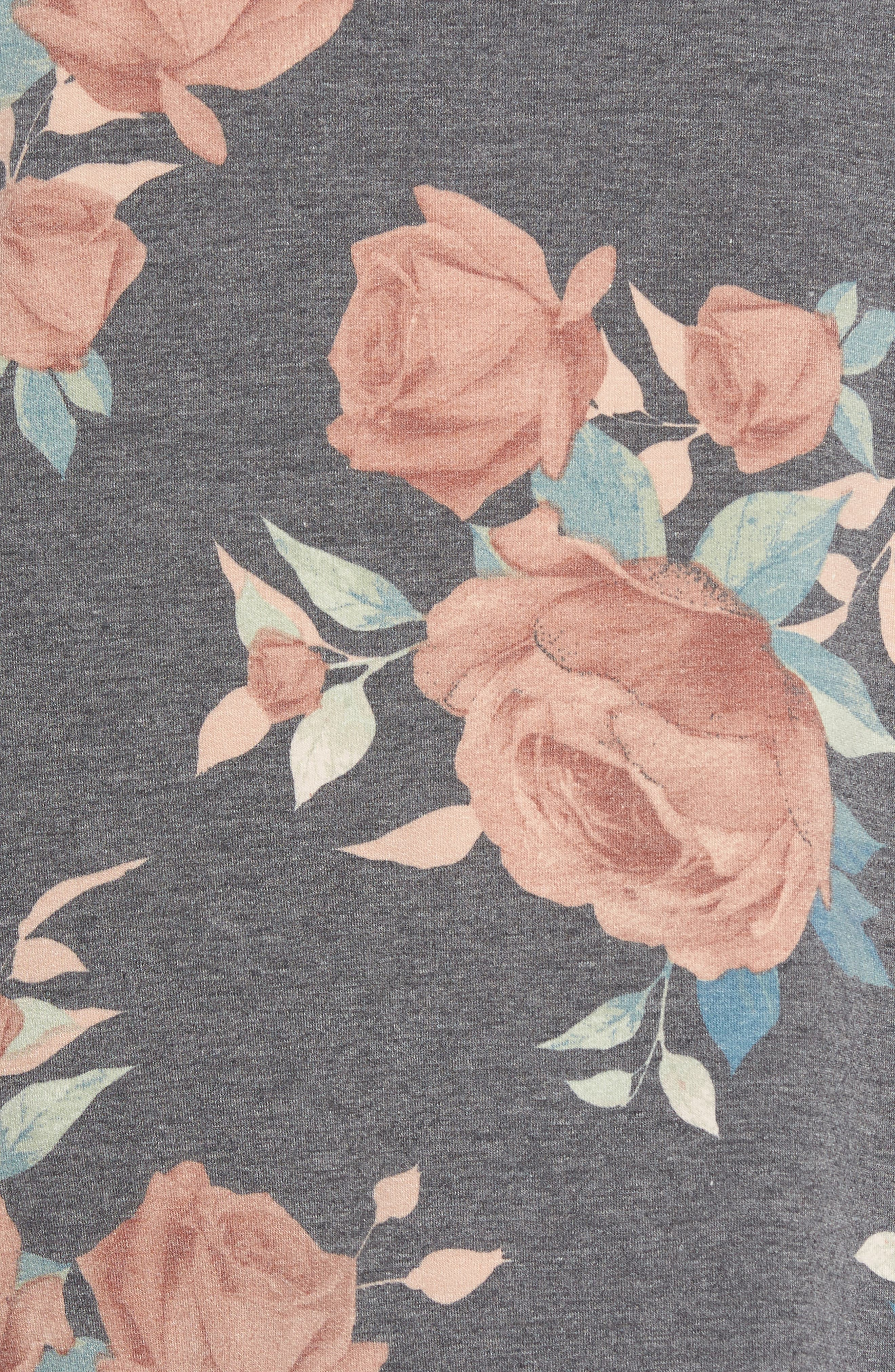 Floral Print Balloon Sleeve Sweatshirt,                             Alternate thumbnail 5, color,                             Black/ Blush