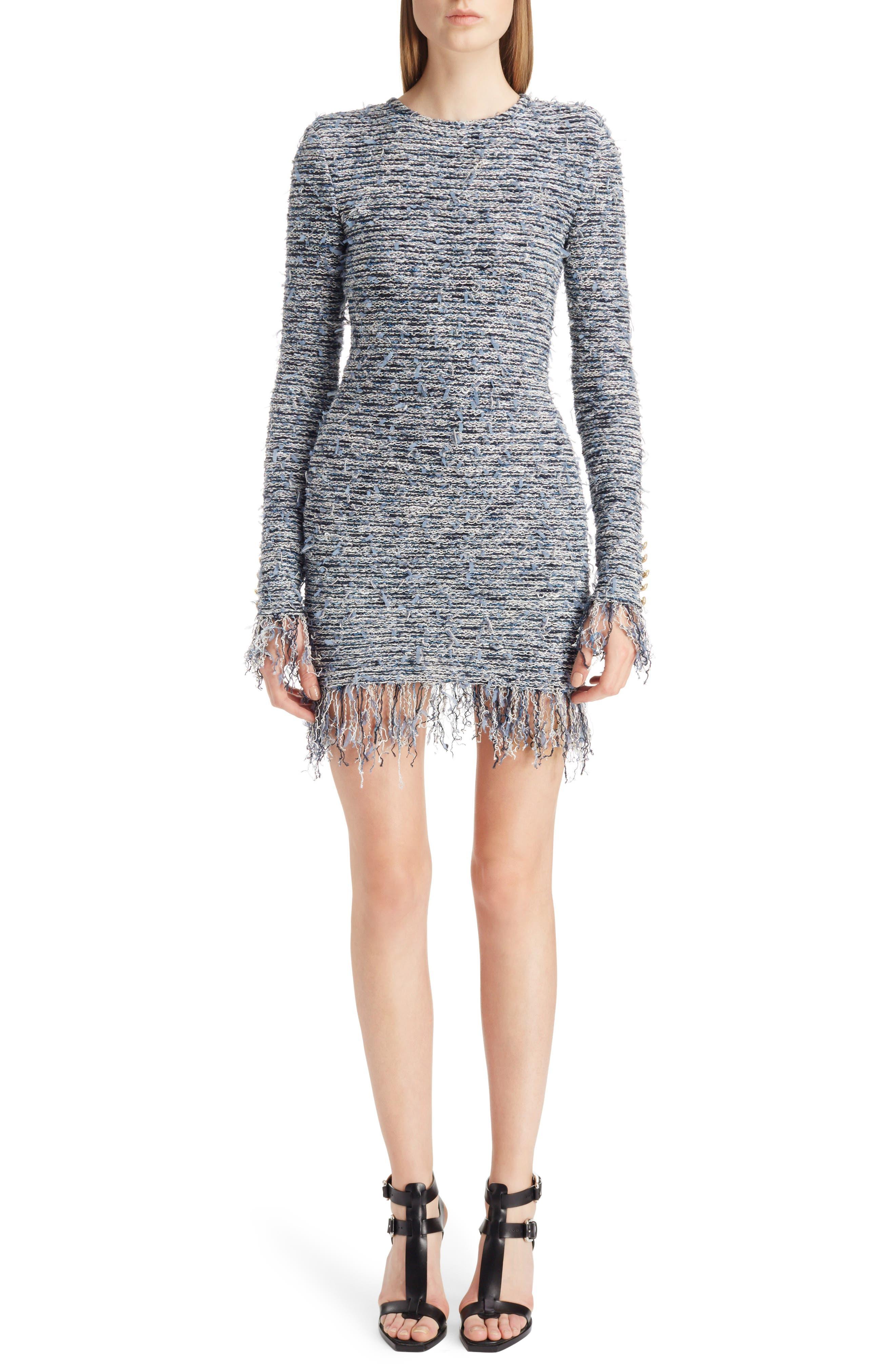 Balmain Fringe Tweed Minidress