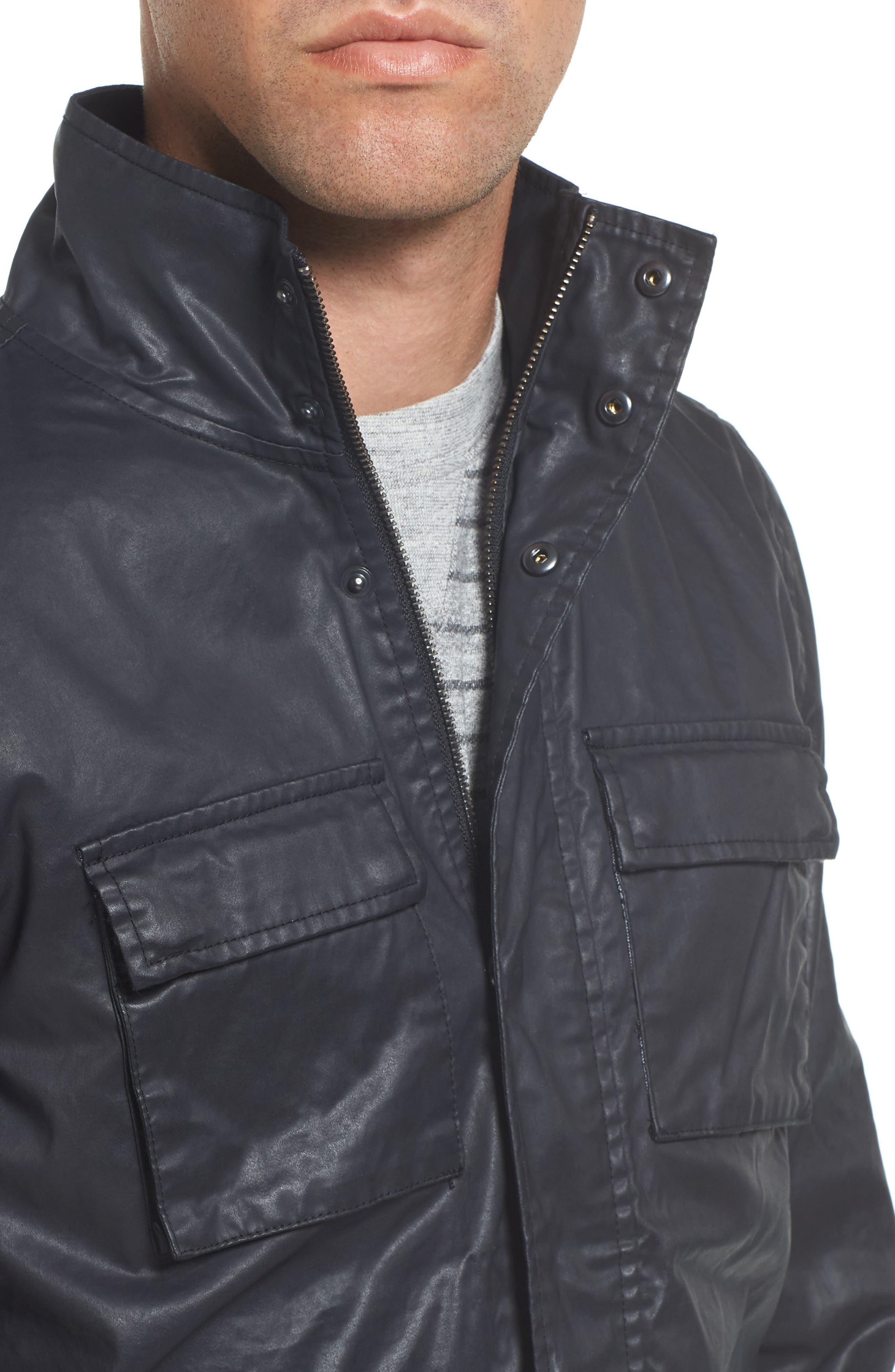 Edgeware Modern Fit Coated Moto Jacket,                             Alternate thumbnail 4, color,                             Black