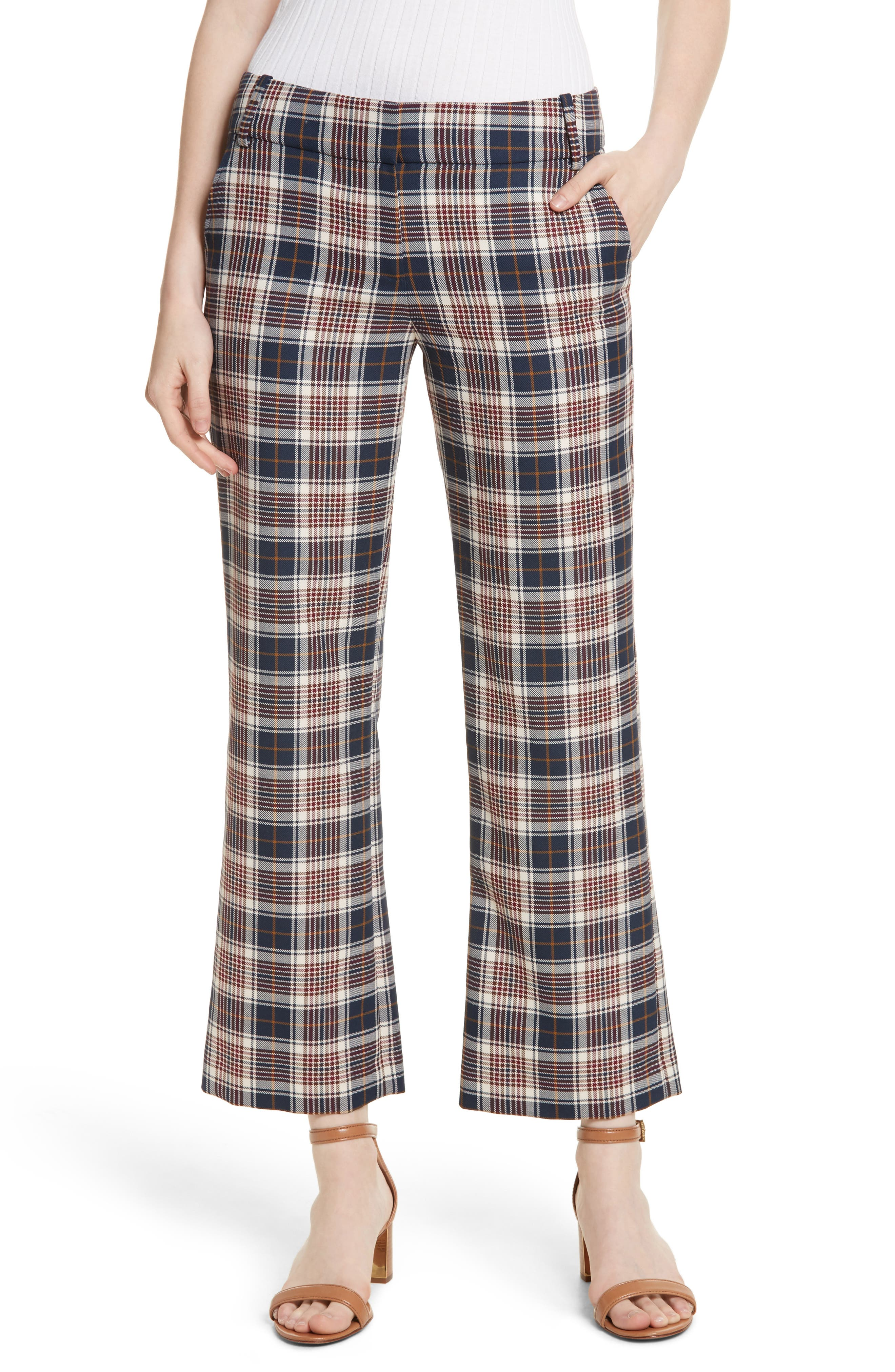 Tory Burch Garrett Plaid Crop Flare Pants