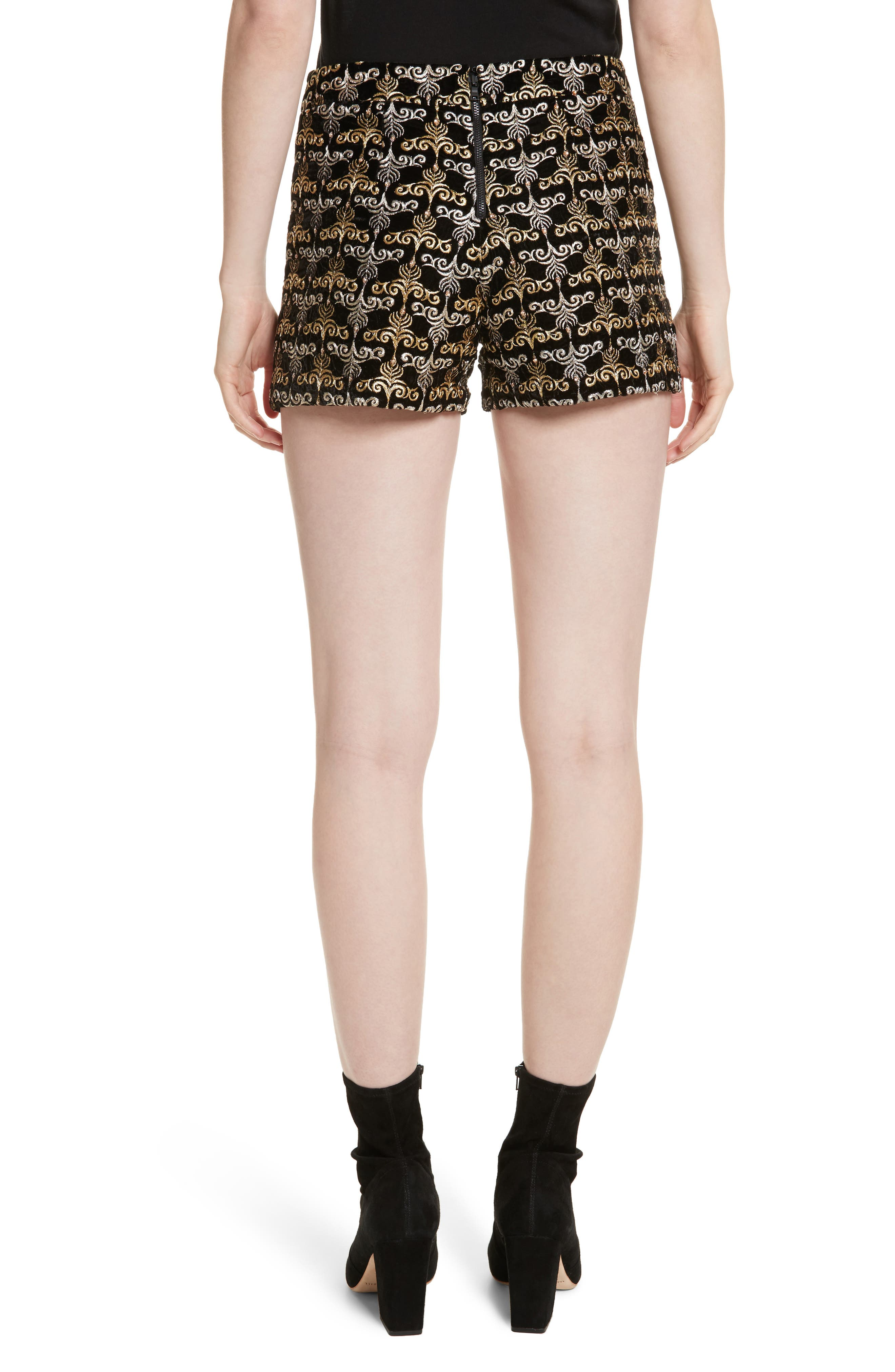 Alternate Image 2  - Alice + Olivia Marisa Embroidered Back Zip Shorts