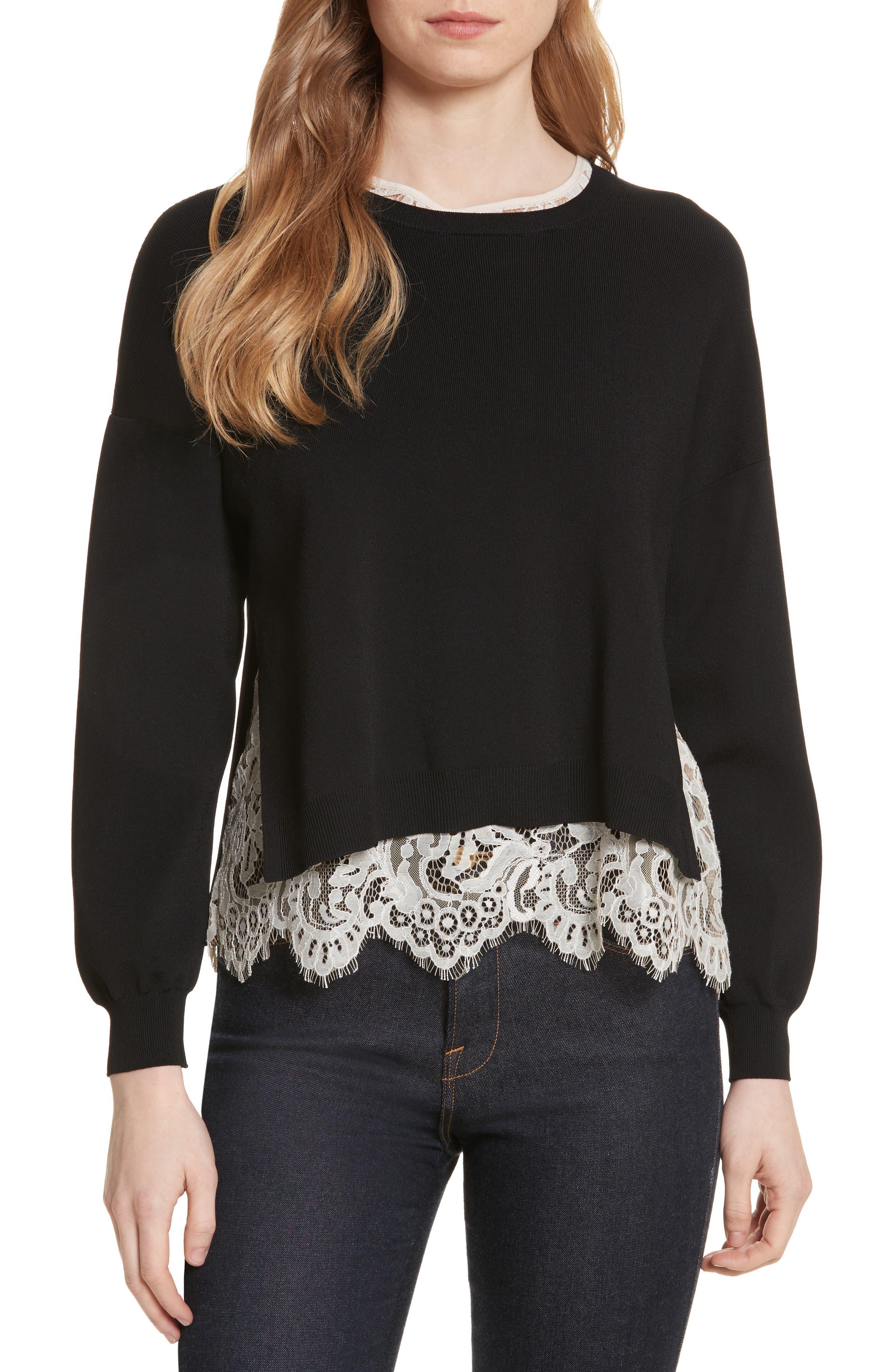 Alice + Olivia Iva Crewneck Lace Sweater