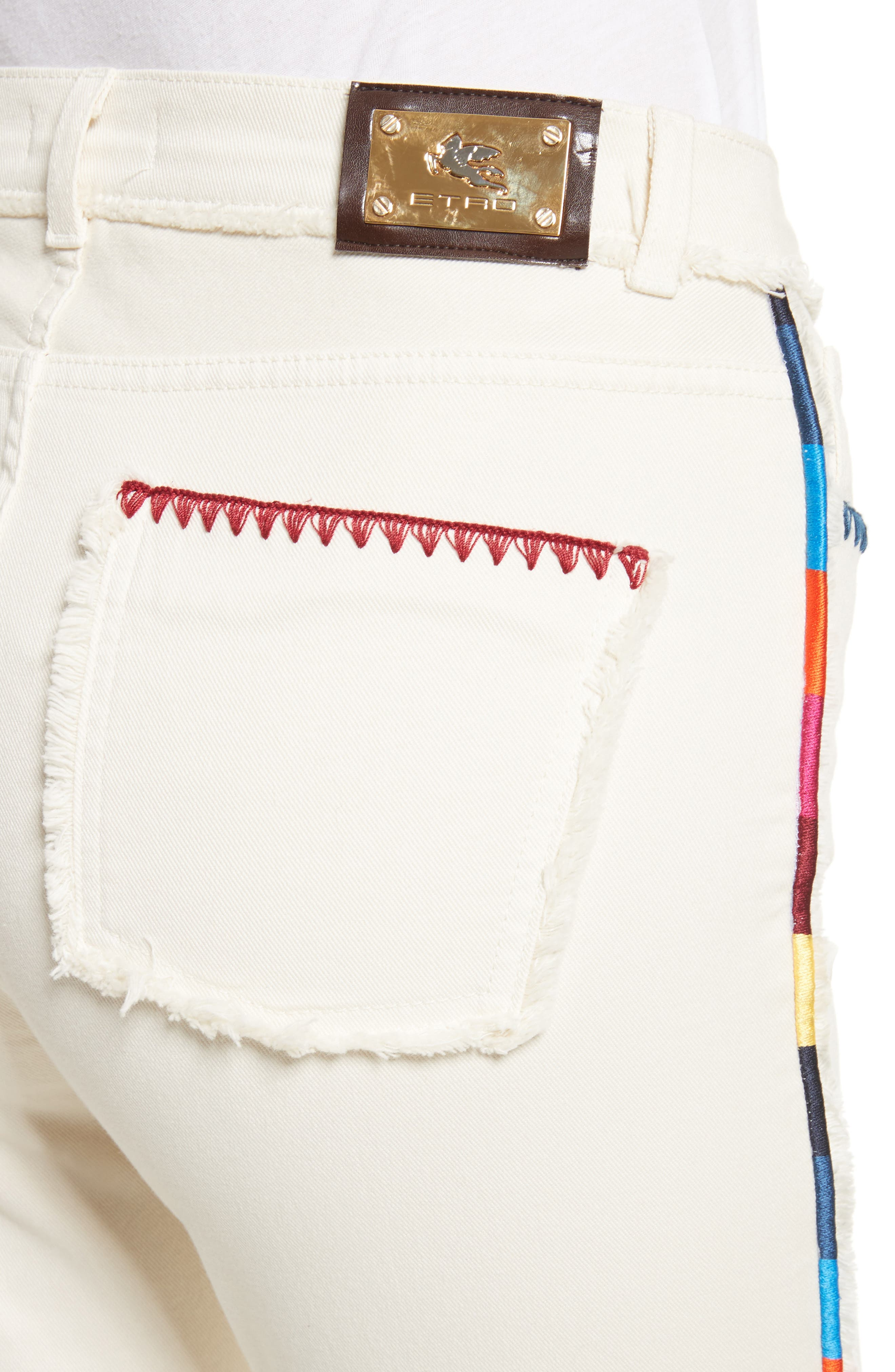 Alternate Image 5  - Etro Embroidered Piping Crop Jeans