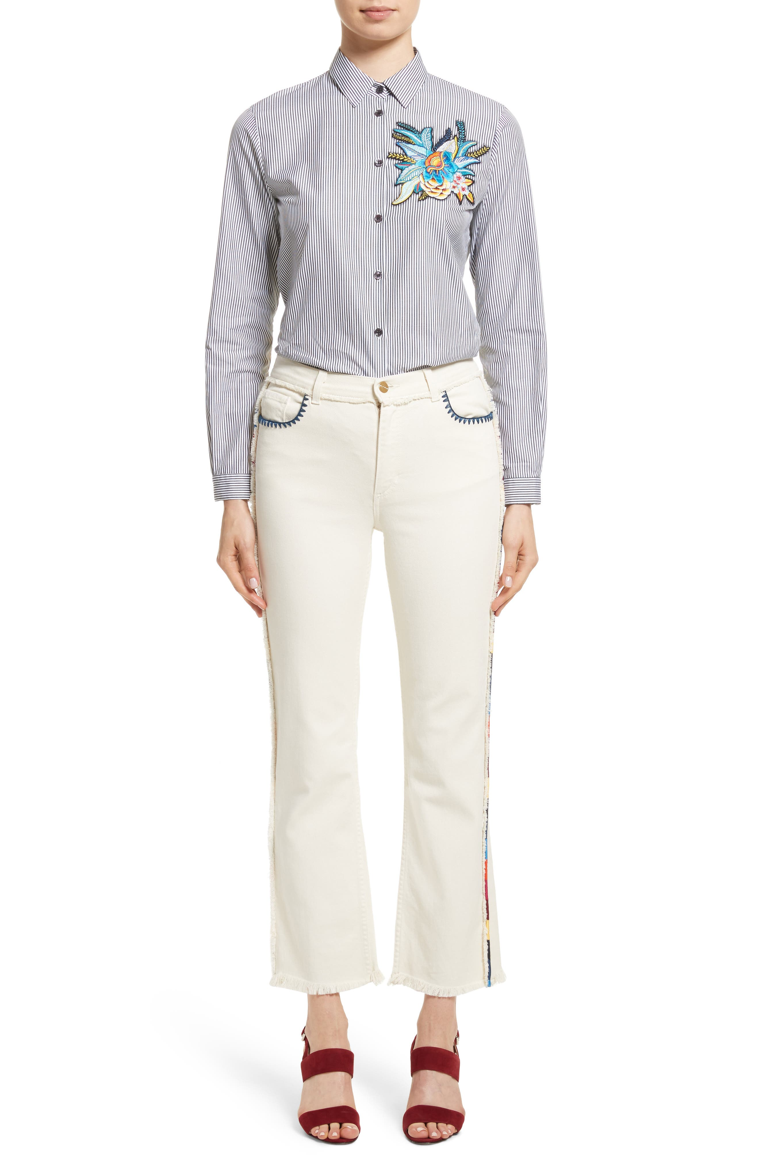 Alternate Image 12  - Etro Embroidered Piping Crop Jeans
