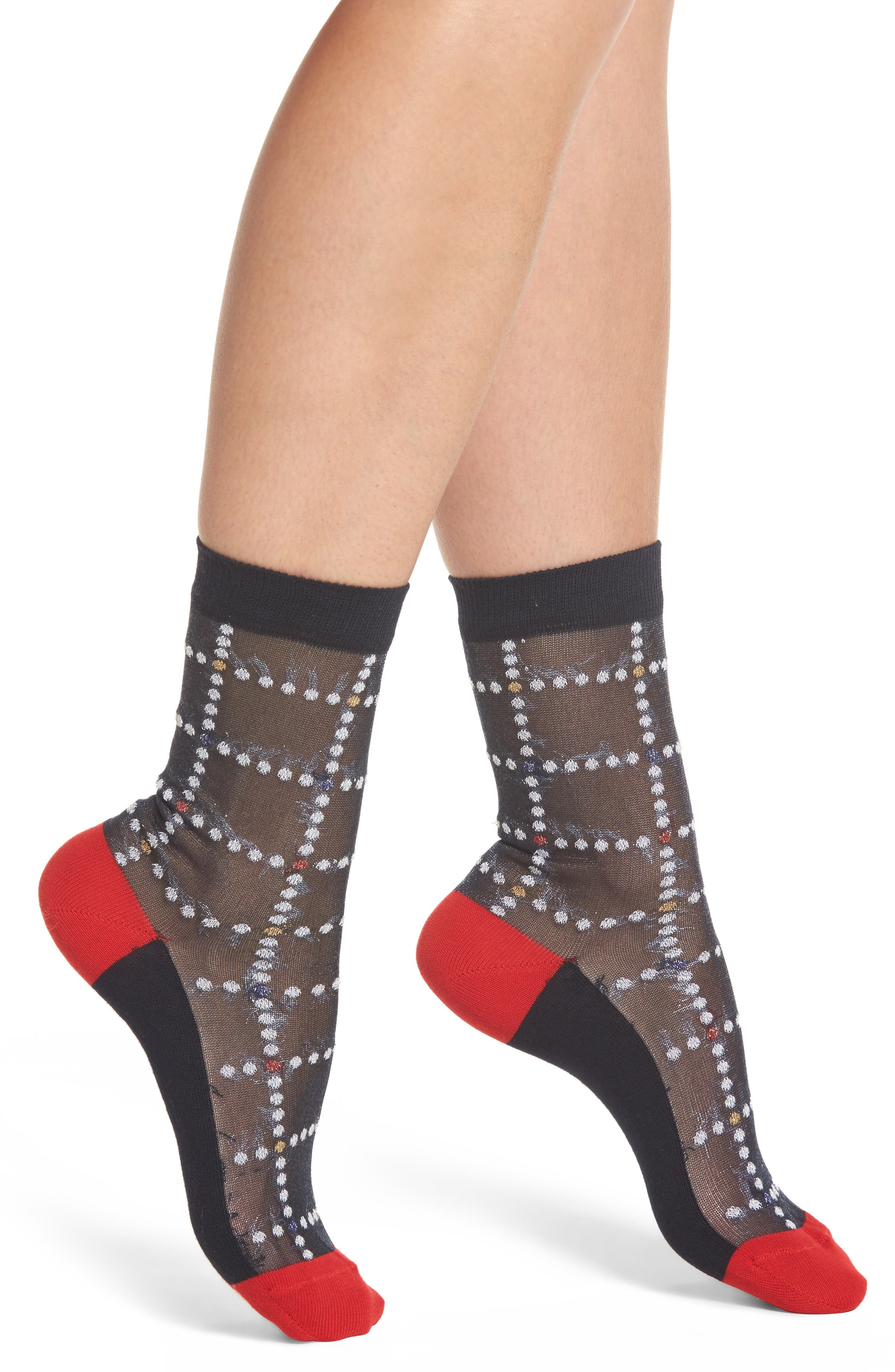 Erin Check Ankle Socks,                             Main thumbnail 1, color,                             Navy
