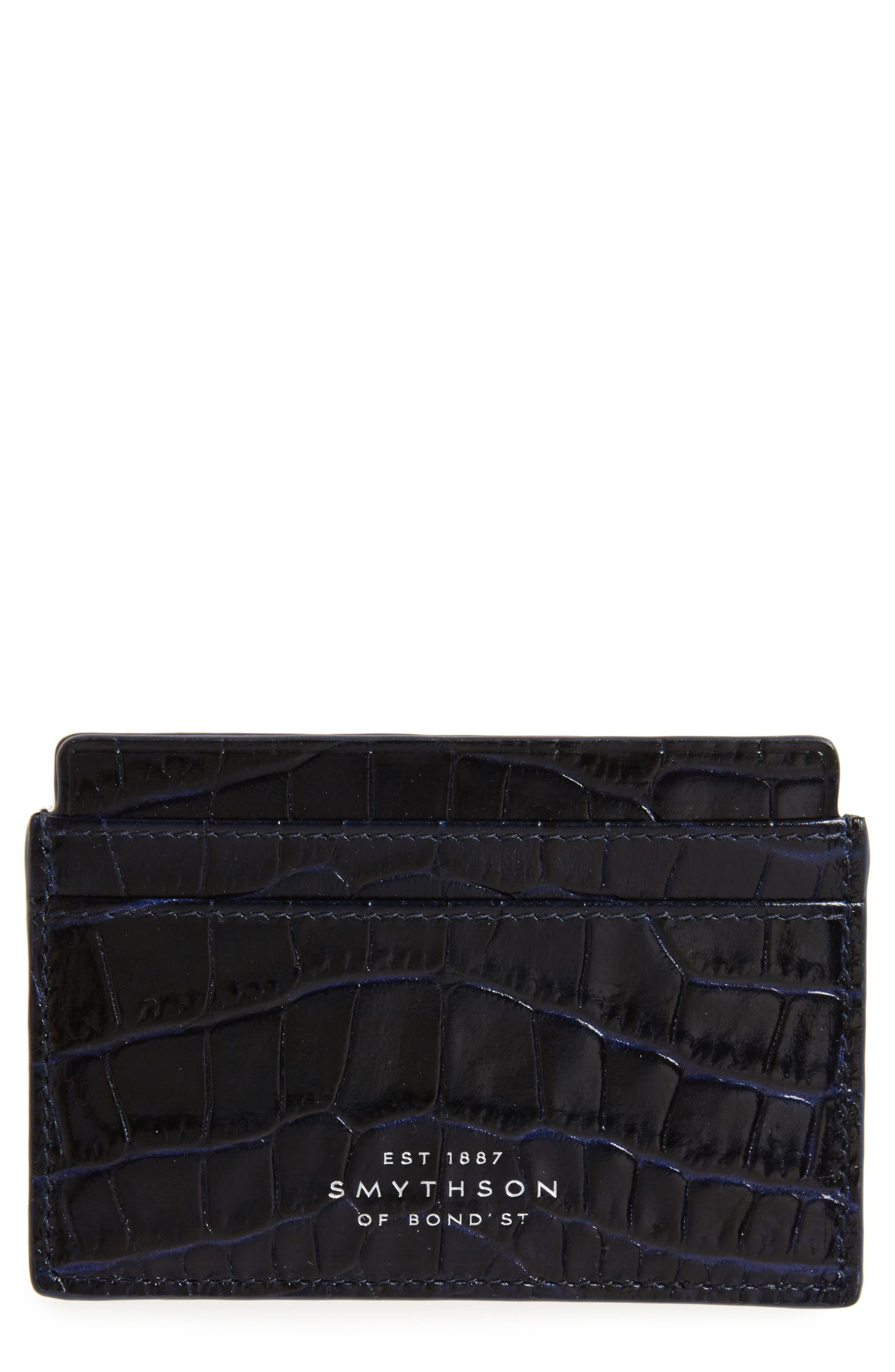 Alternate Image 1 Selected - Smythson Mara Tiered Croc Embossed Leather Card Holder