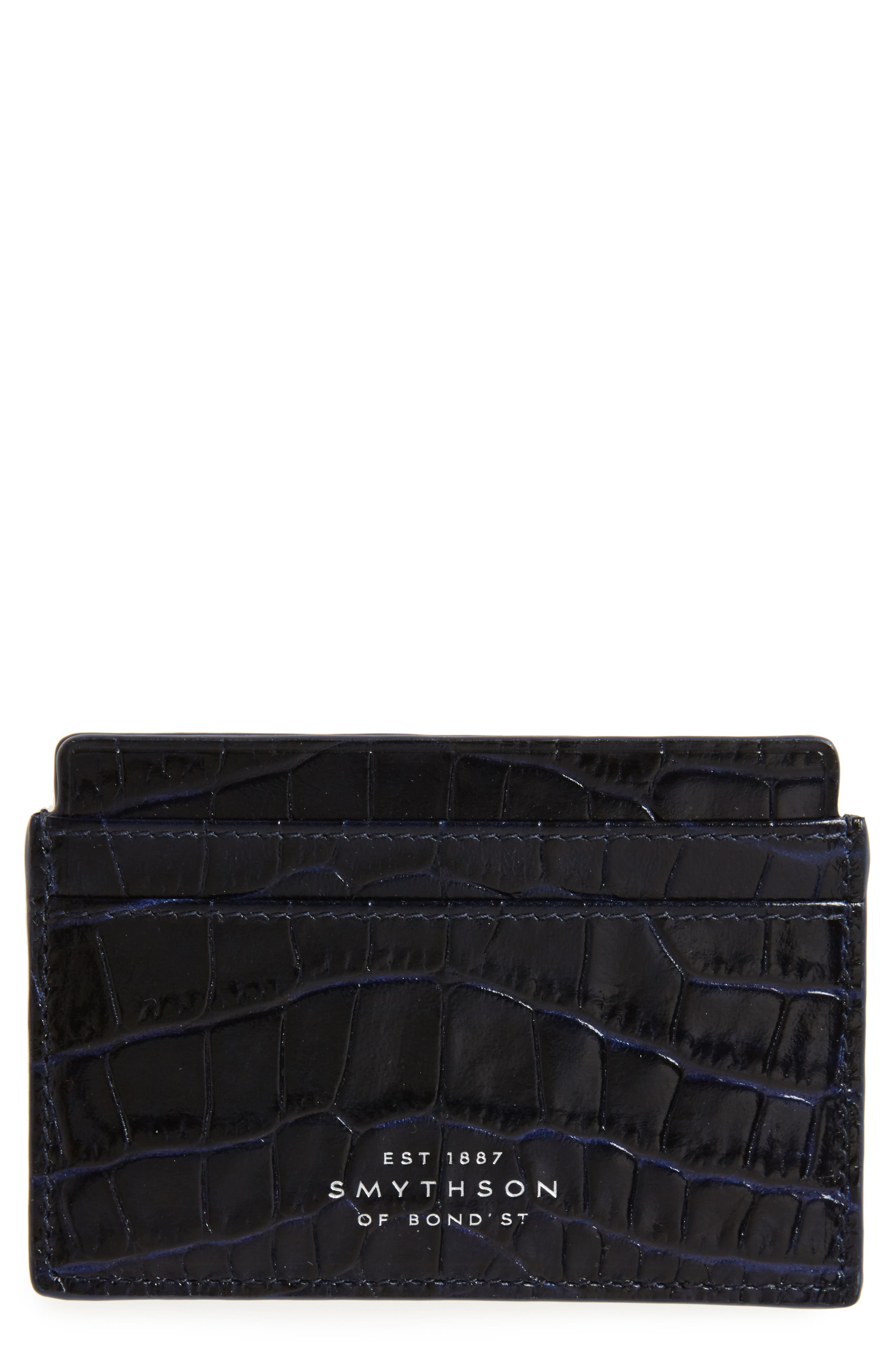 Main Image - Smythson Mara Tiered Croc Embossed Leather Card Holder