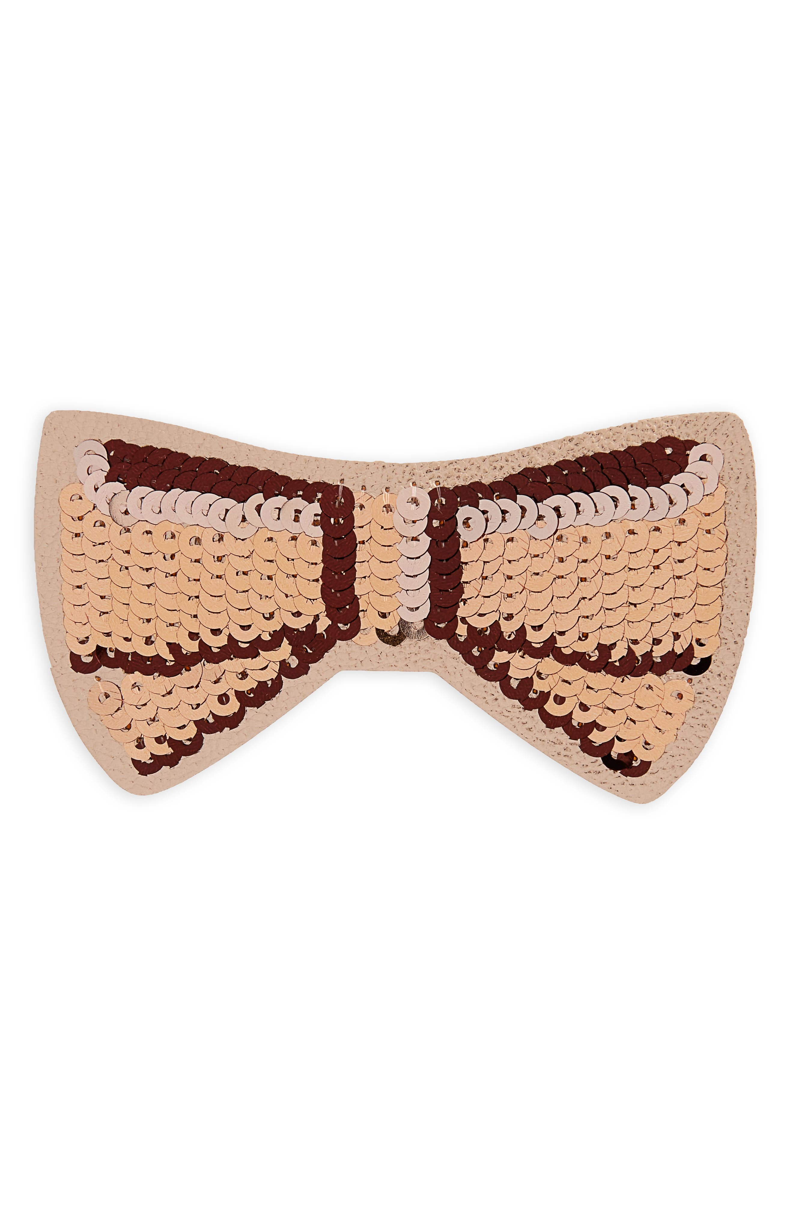 ashe place sequin bow sticker,                             Main thumbnail 1, color,                             Rose Gold