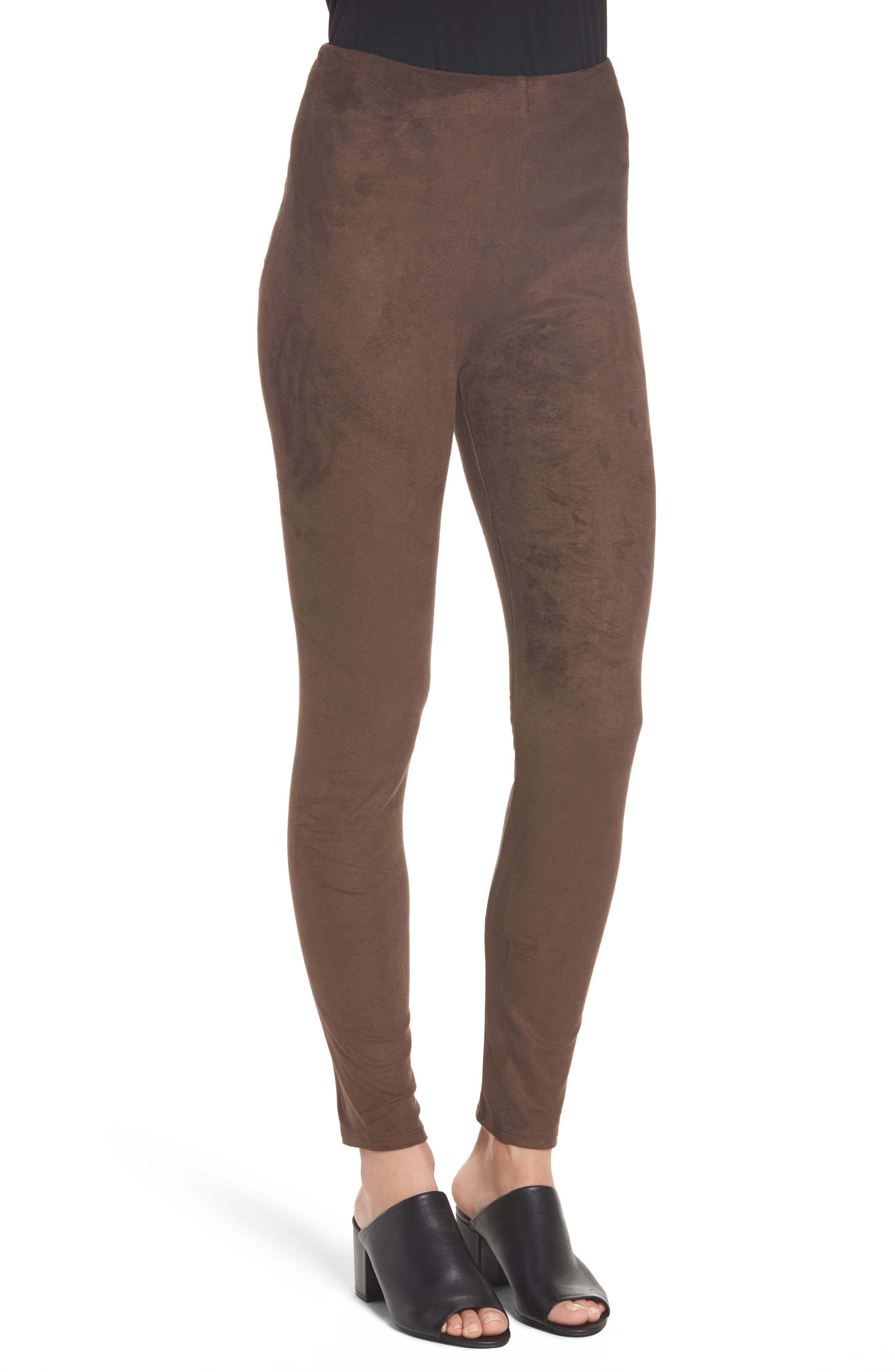High Waist Faux Suede Leggings,                             Alternate thumbnail 3, color,                             Bourbon