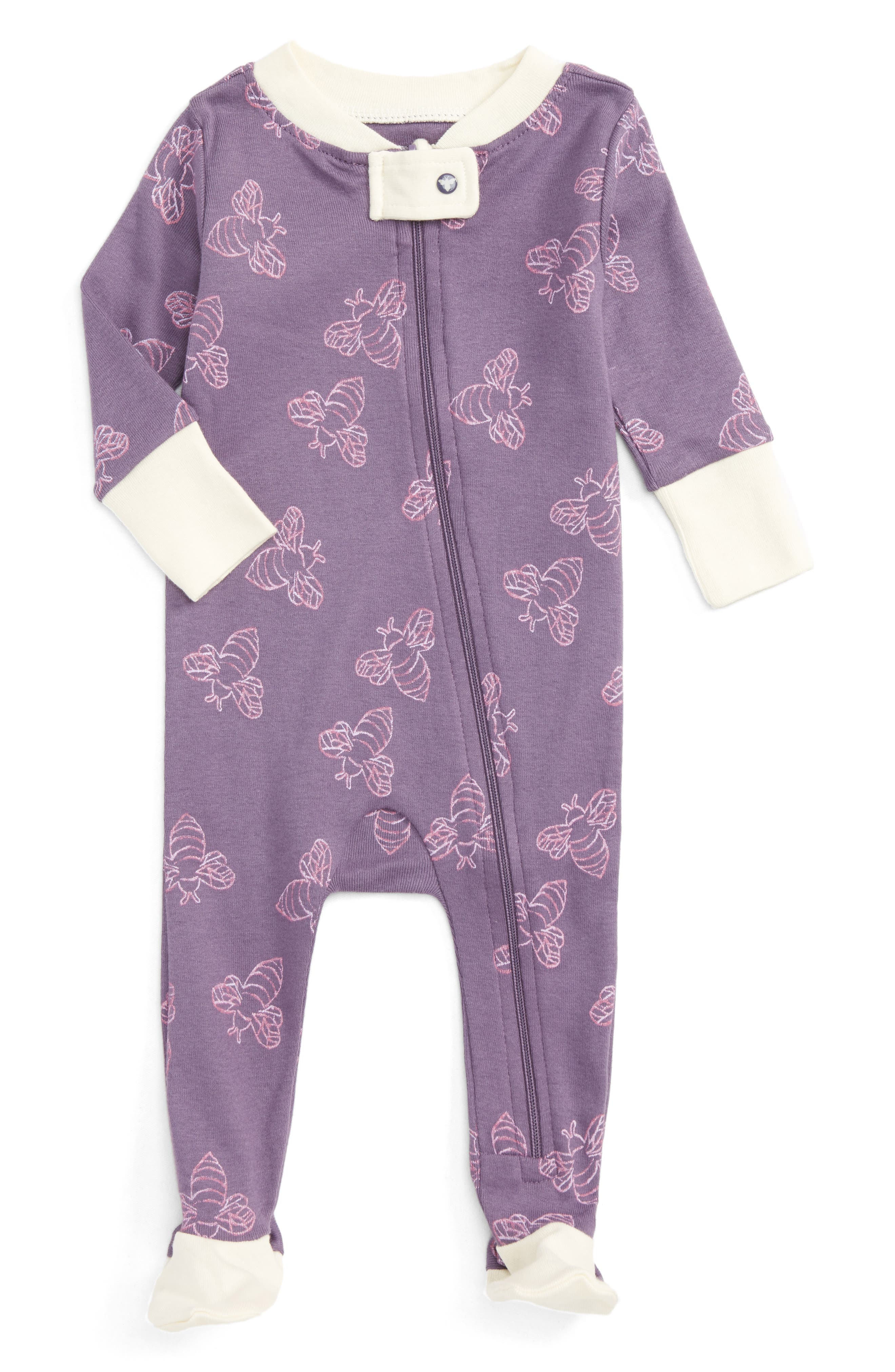 Burt's Bees Baby Watercolor Bee Fitted One-Piece Footed Pajamas (Baby Girls)