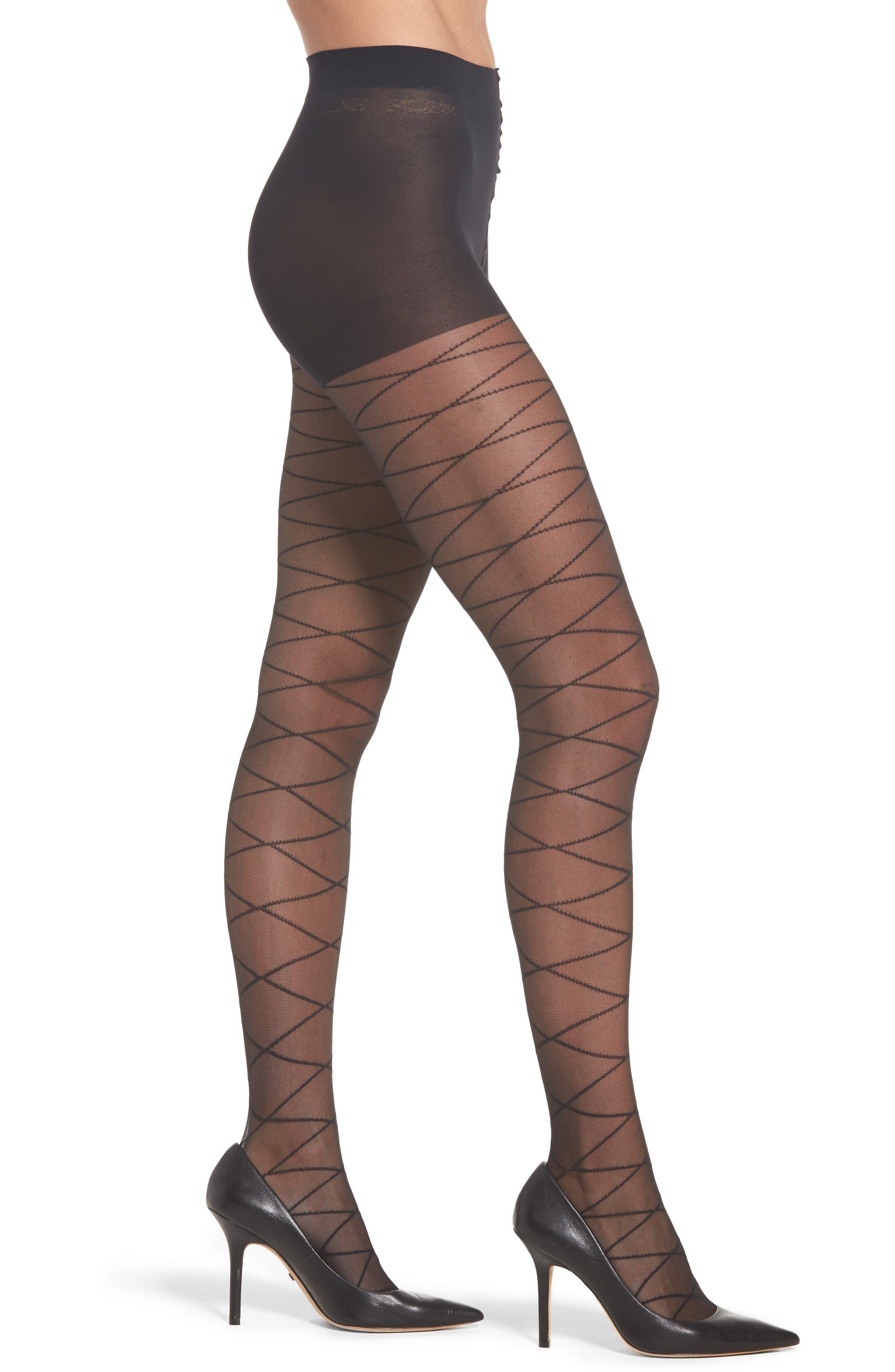 Fleming Take Me to New York Stripe Pantyhose,                         Main,                         color, Black